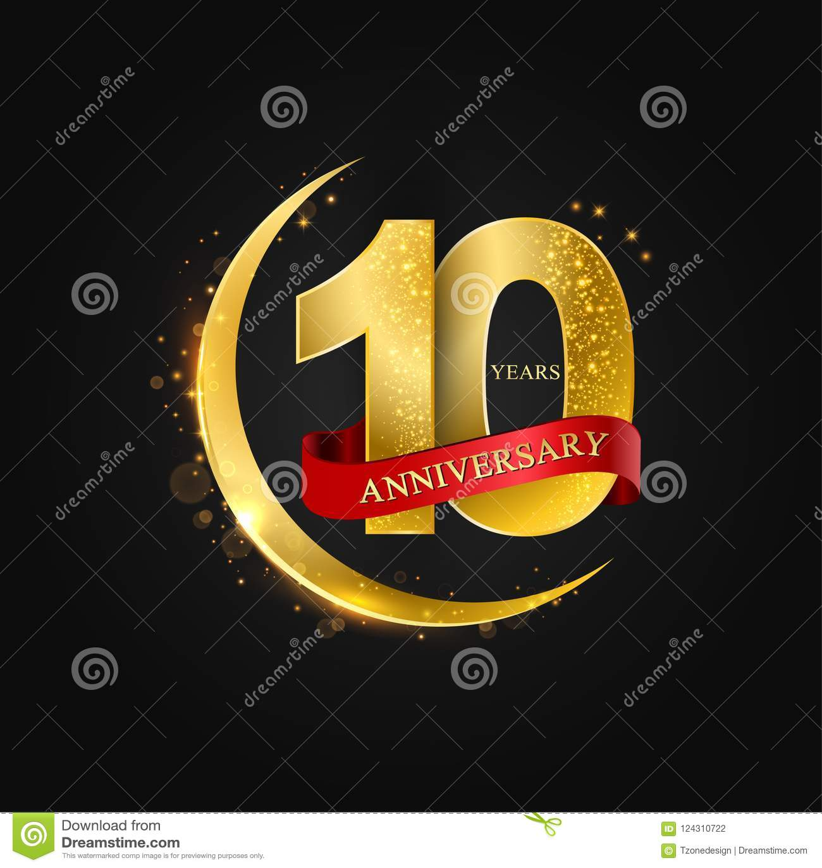 10 jaar verjaardags Het patroon met Arabische gouden, gouden halve maan en schittert