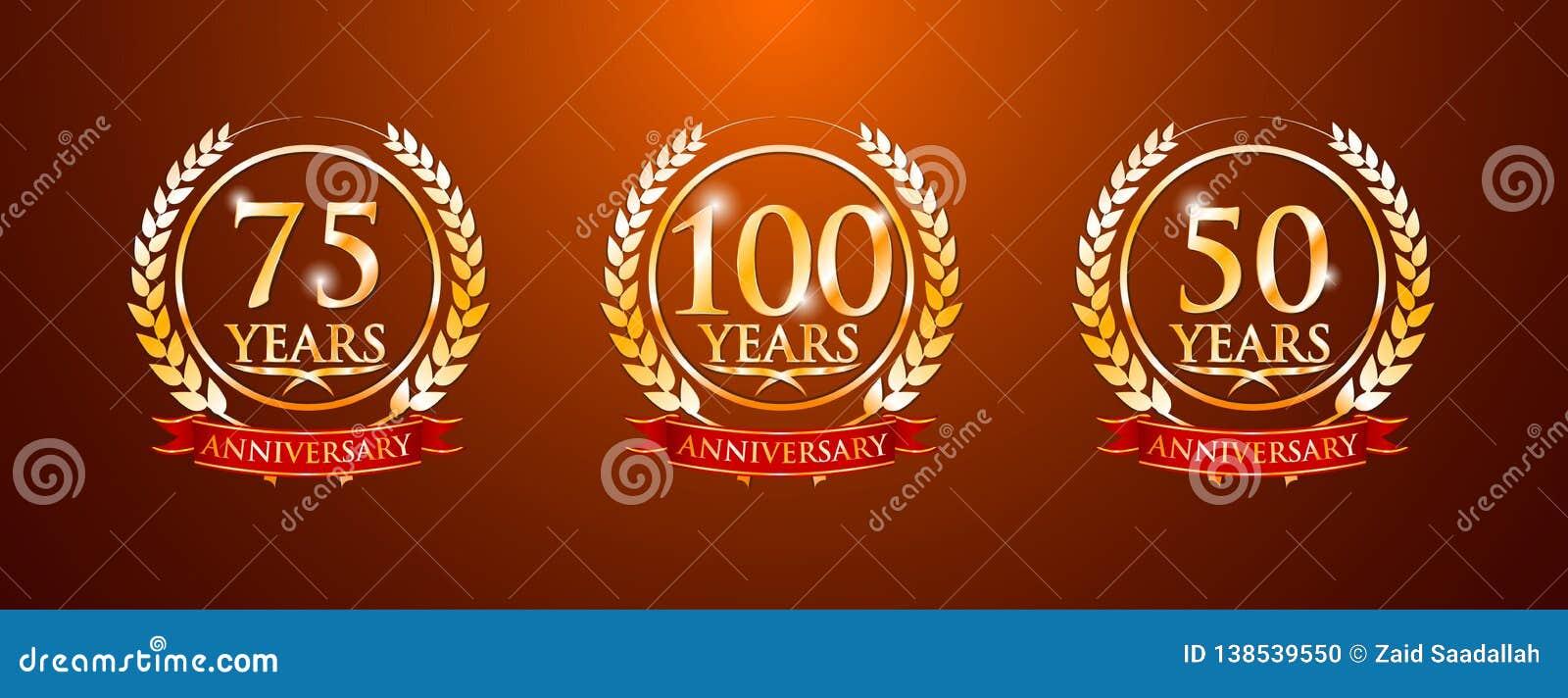 100 75 50 jaar verjaardagsetiketten
