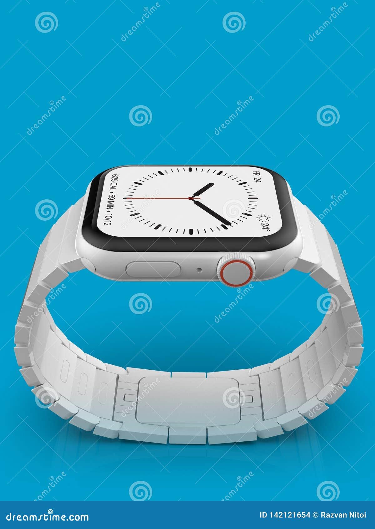 Jabłczani 4 zegarka plotki biały ceramiczny powieściowy przyrząd, mockup