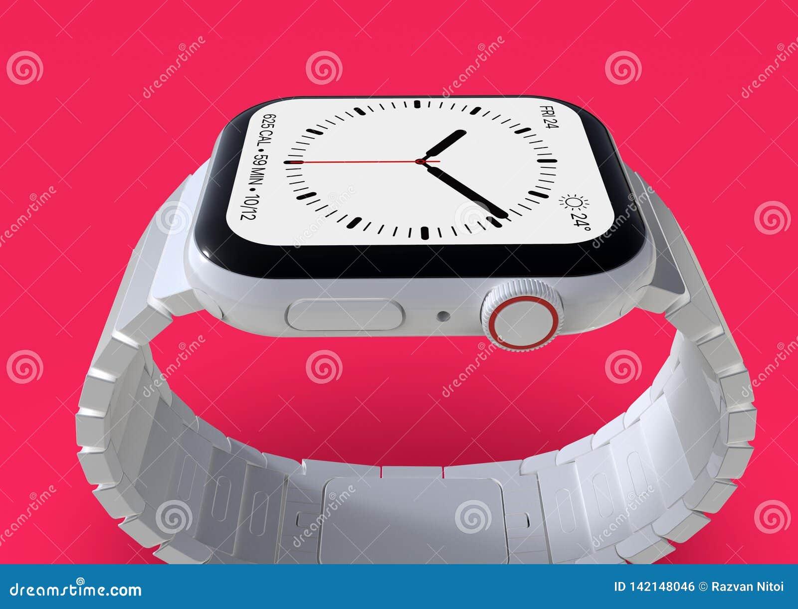 Jabłczani 4 zegarka plotki biały ceramiczny powieściowy smartwatch, mockup