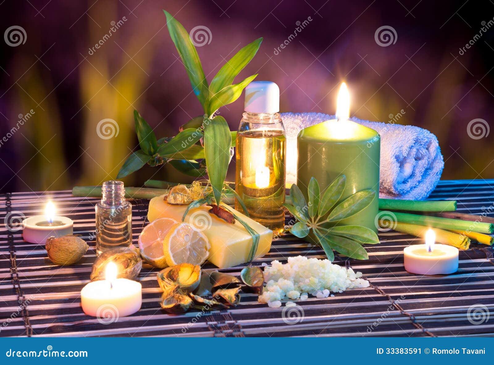 jabn aceite toalla sal bamb y velas del limn en jardn