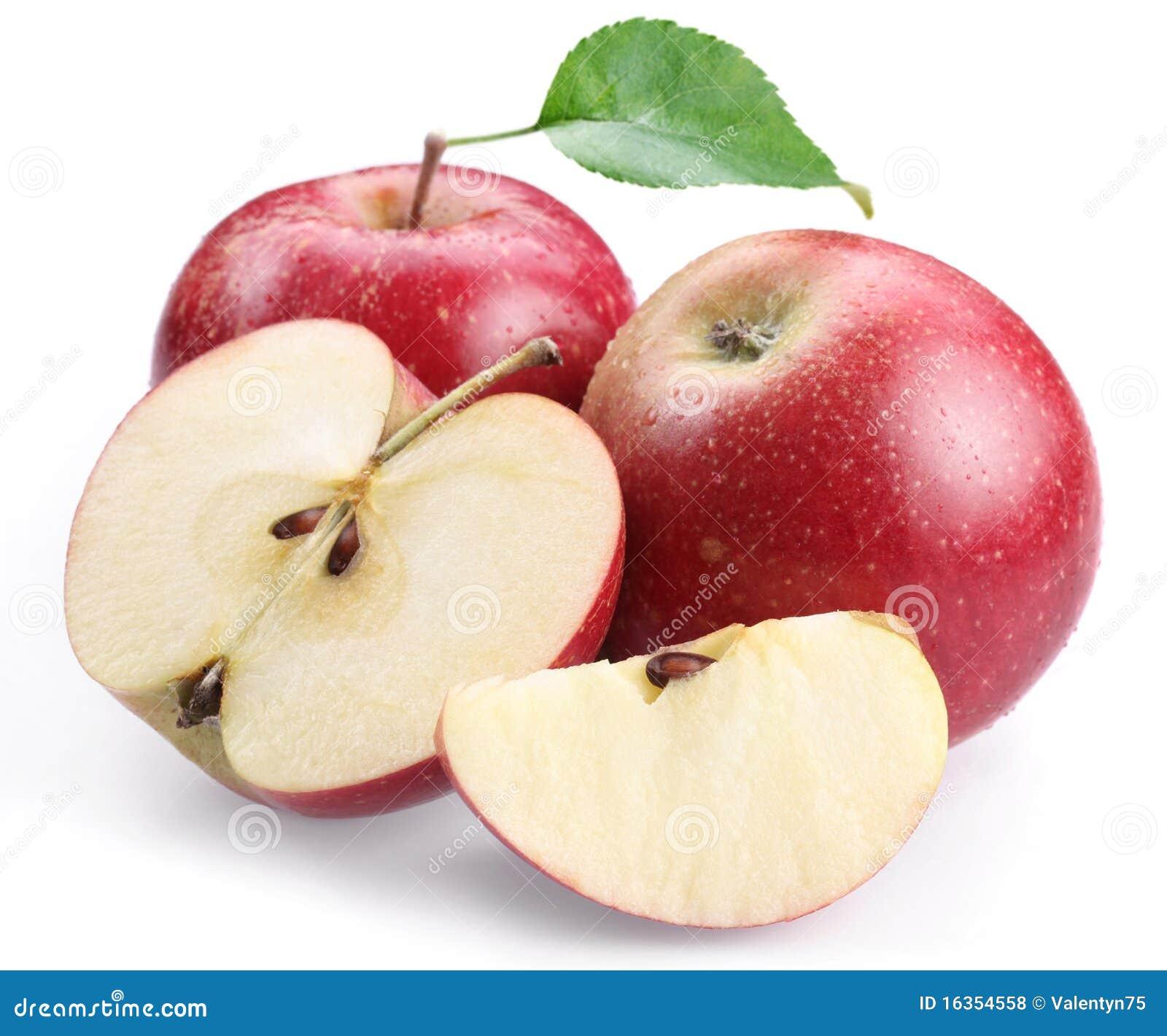 Jabłczana czerwień pokrajać dwa