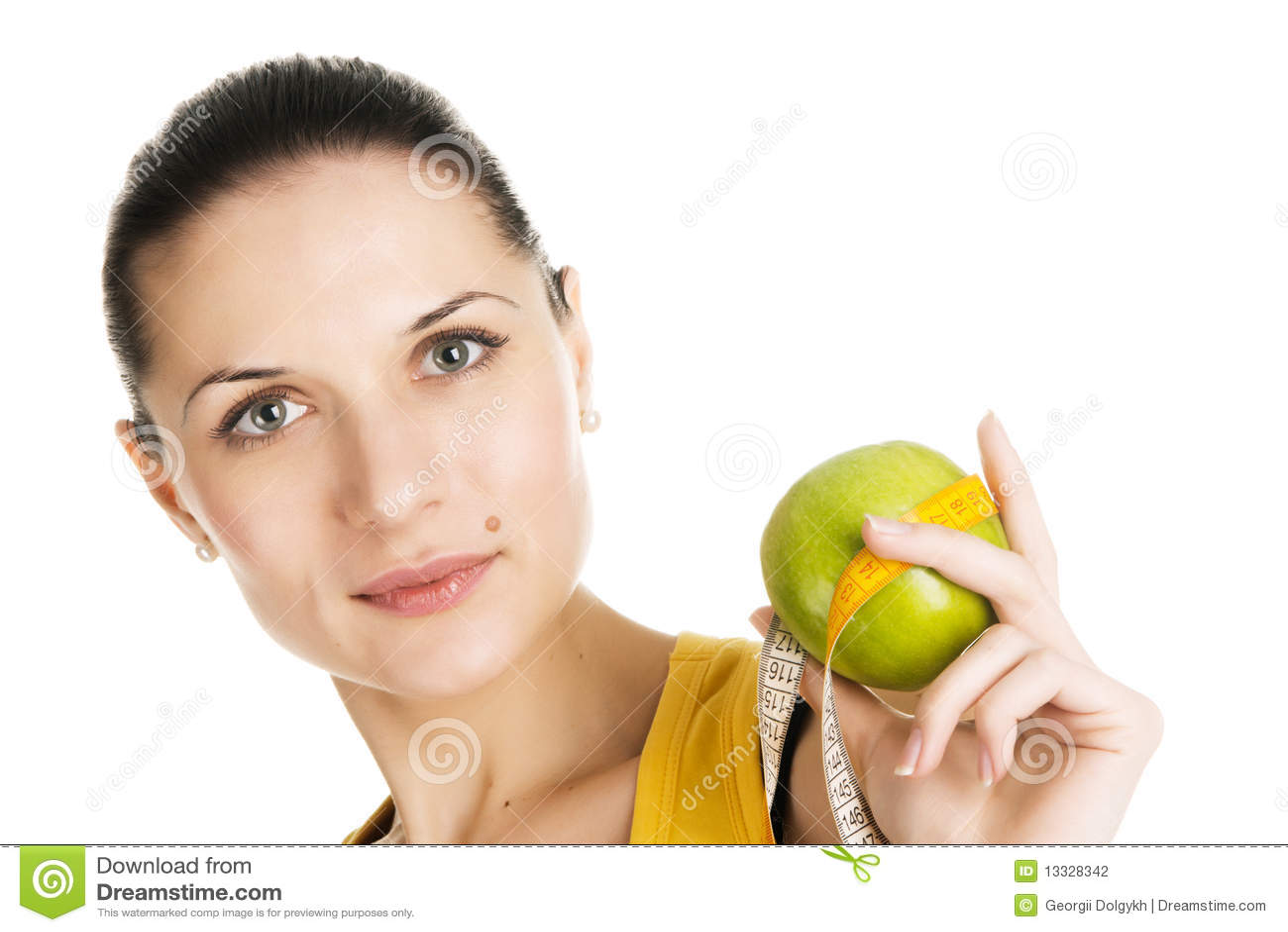 Jabłczana piękna zielona mienia schudnięcia kobieta