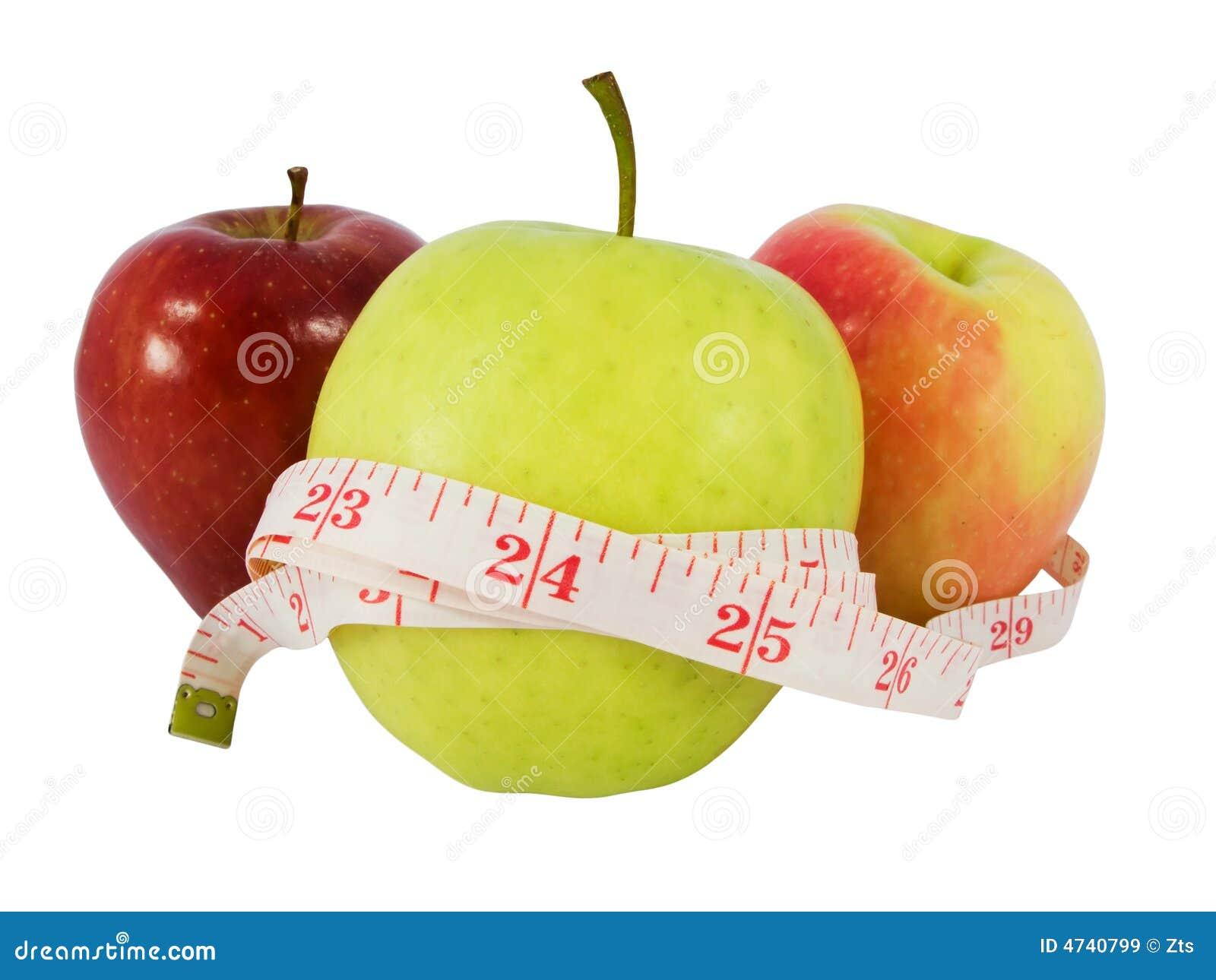Jabłczana pojęcie diety zielone taśmy środek