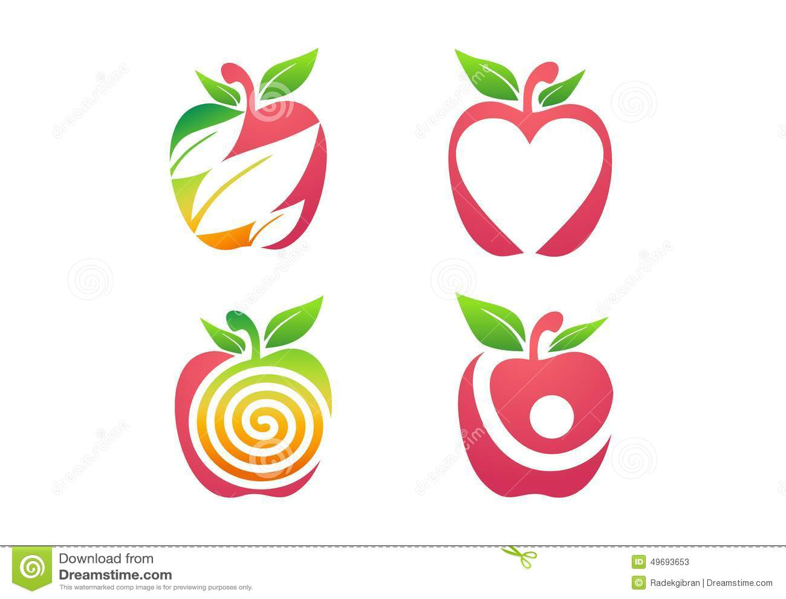 Jabłczany logo, świeżej jabłczanej owocowej odżywiań zdrowie natury ikony ustalony symbol