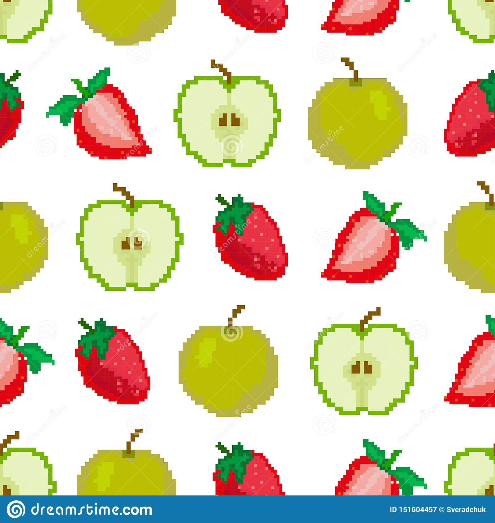 Jabłek i truskawek bezszwowy wzór Piksel broderia kwadrat wektor