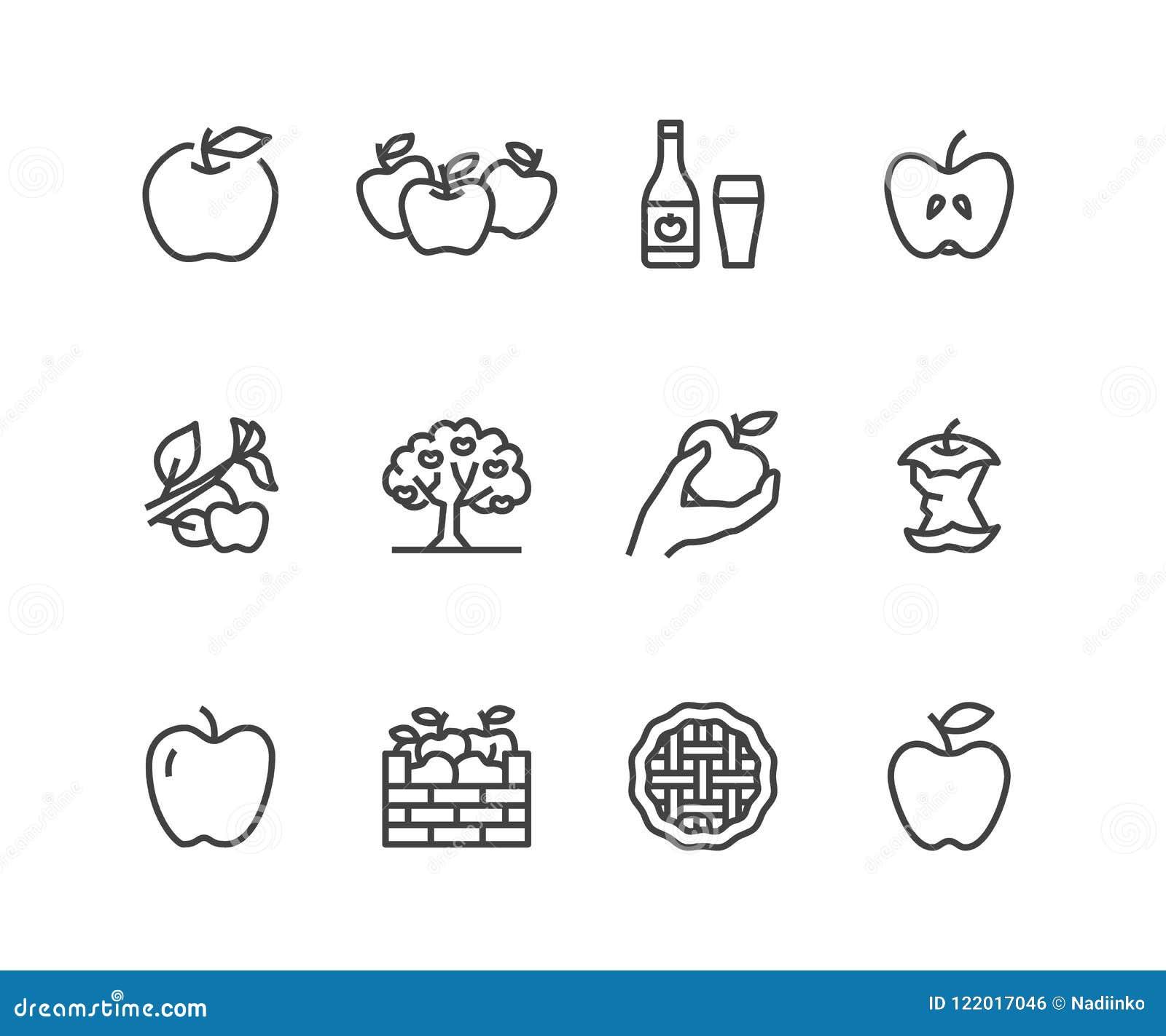 Jabłka mieszkania linii ikony Jabłczany zrywanie, jesieni żniwa festiwal, rzemiosło cydru owocowe ilustracje Cienieje znaki dla o