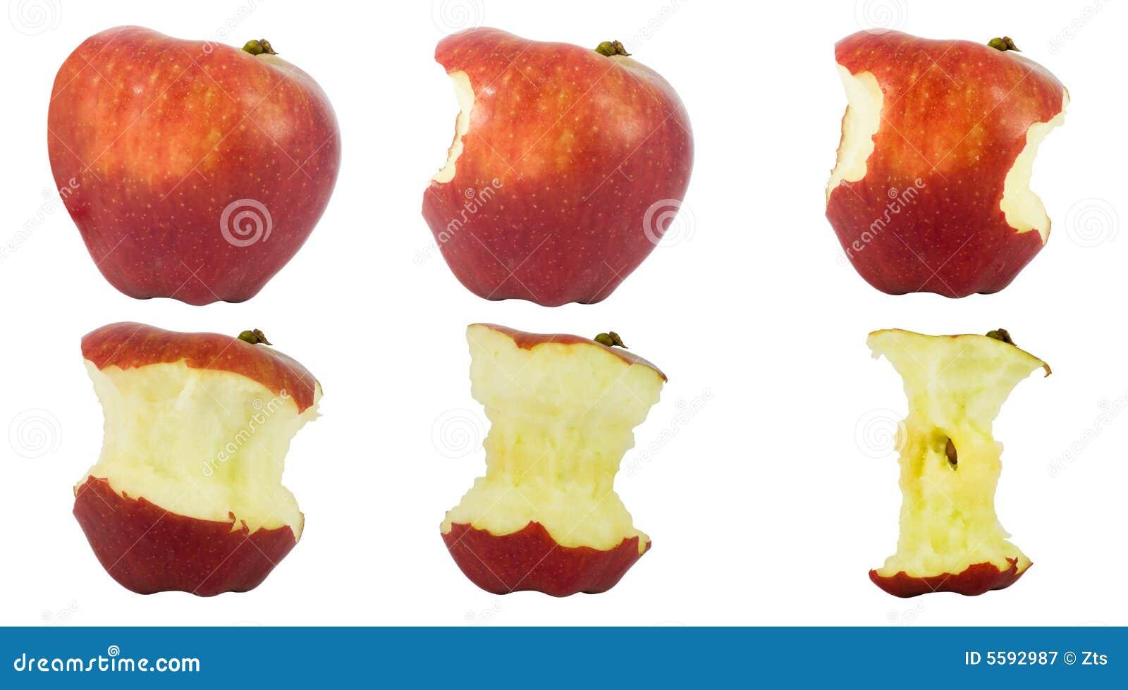 Jabłko jest zjedzony sekwencją
