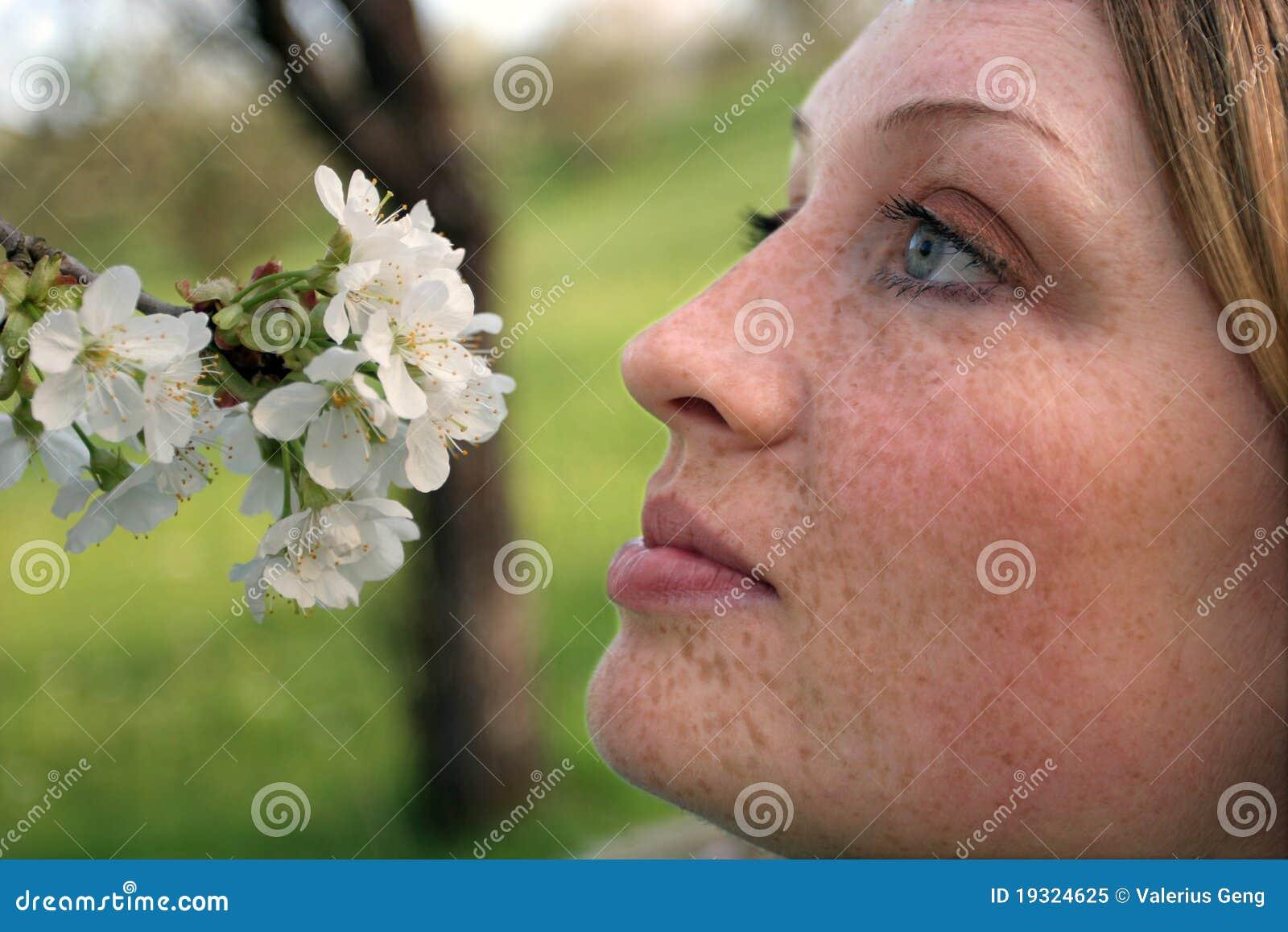 Jabłko kwitnie piegów odorów kobiety