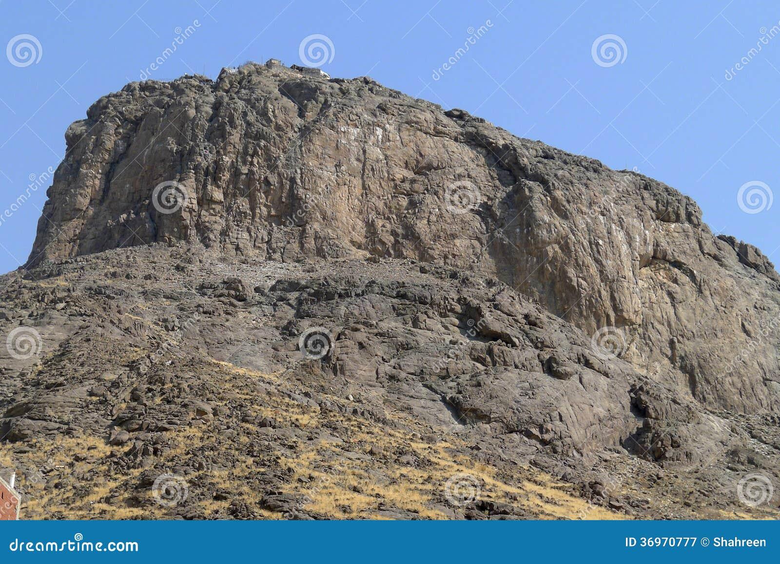 Jabal Nour (Nour Mountain - berg av ljus) i Mecka, Saudiarabien. Profeten Muhammad (fred är på honom), mottog hans första varv