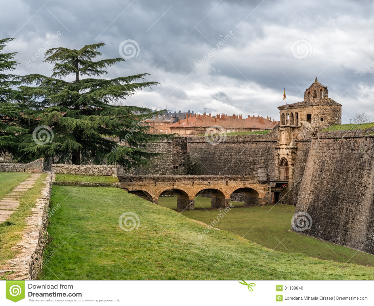 Jaca Spain  city pictures gallery : Beautiful view with dramatic sky in Jaca, Spain.