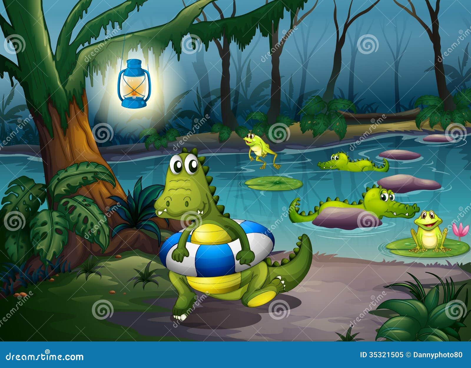 Jacarés na lagoa na floresta