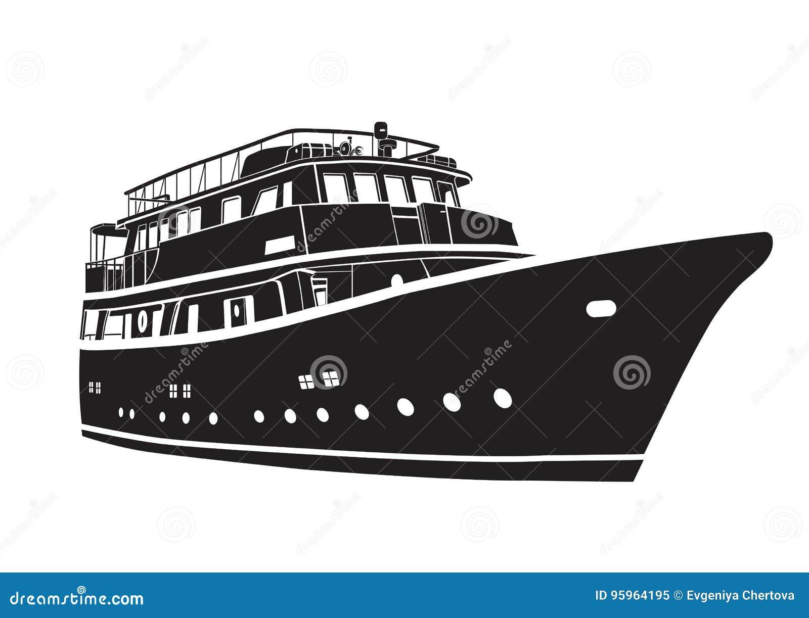 Jacht łodzi ikona Konturowy wektorowy statek