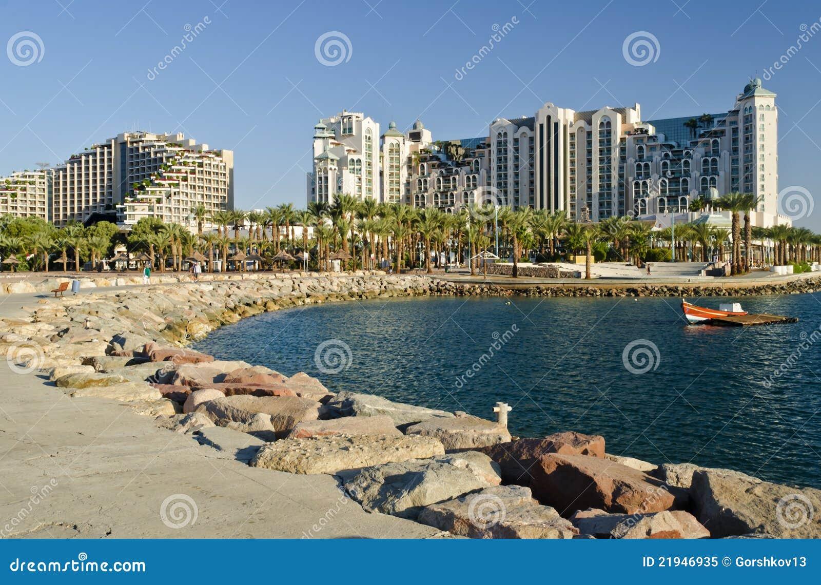 Jachthafen Und Rücksortierunghotels In Eilat Israel Stockbild