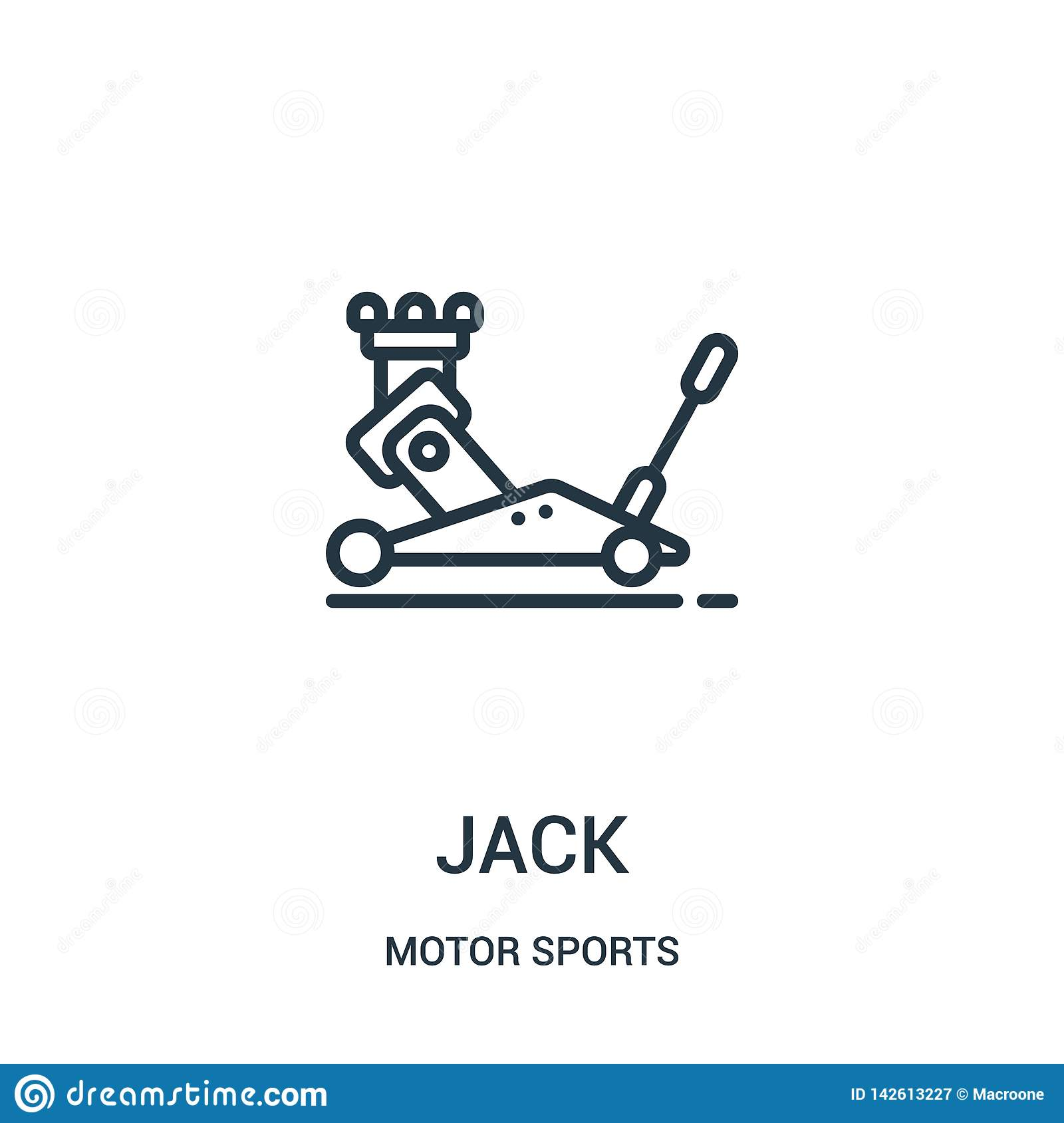 jack icon vector from motor sports collection. Thin line jack outline icon vector illustration. Linear symbol