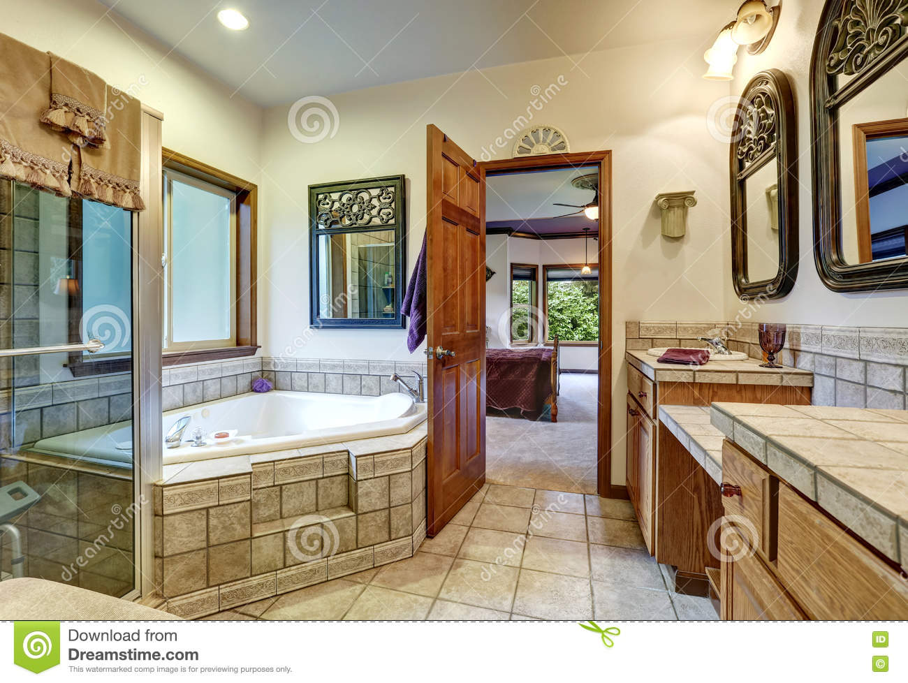 Jack And Jill Bath With Two Washbasins And Whirlpool Tub.