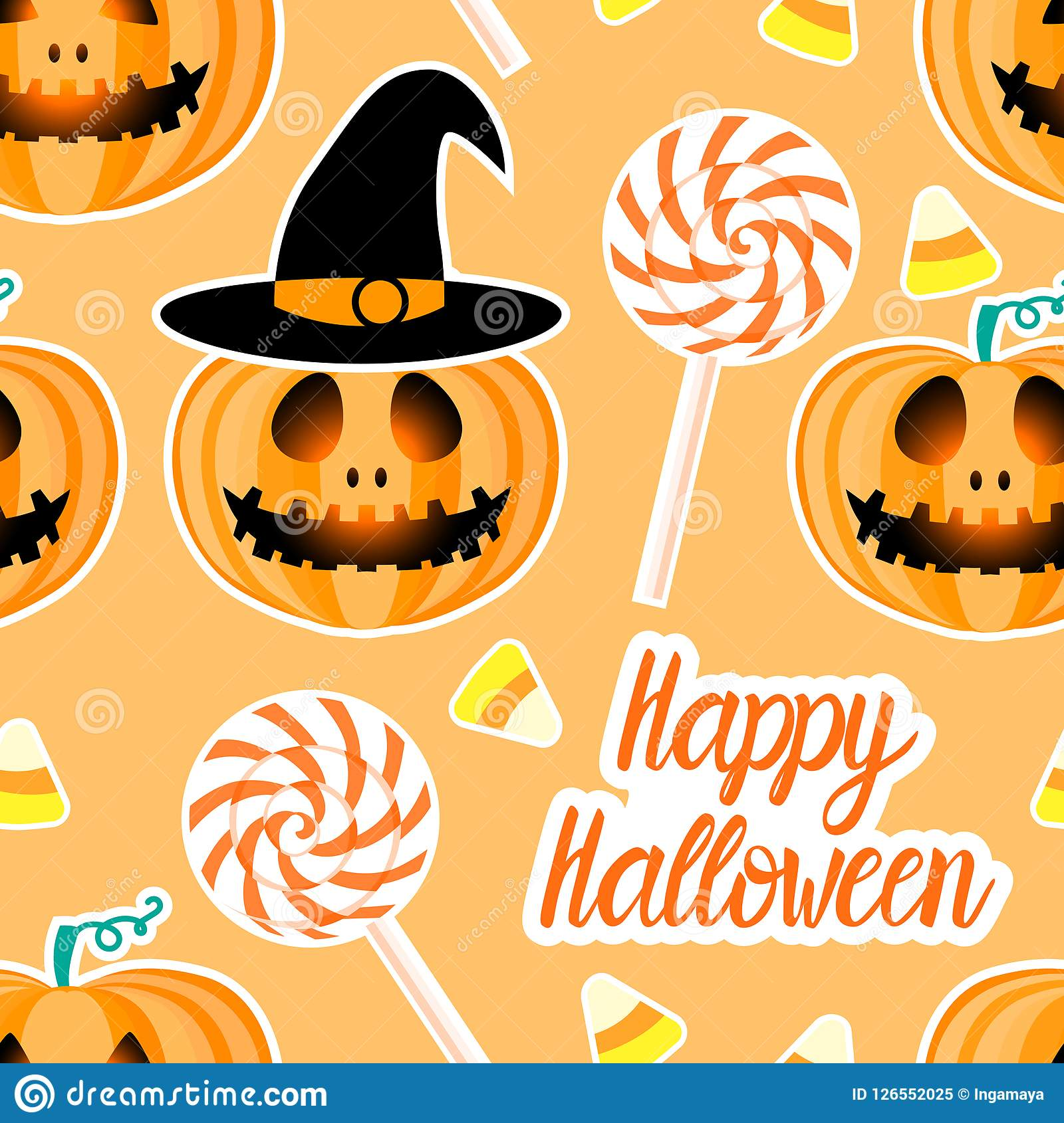 Jack Lantern With Easy And Candy Corn Happy Halloween