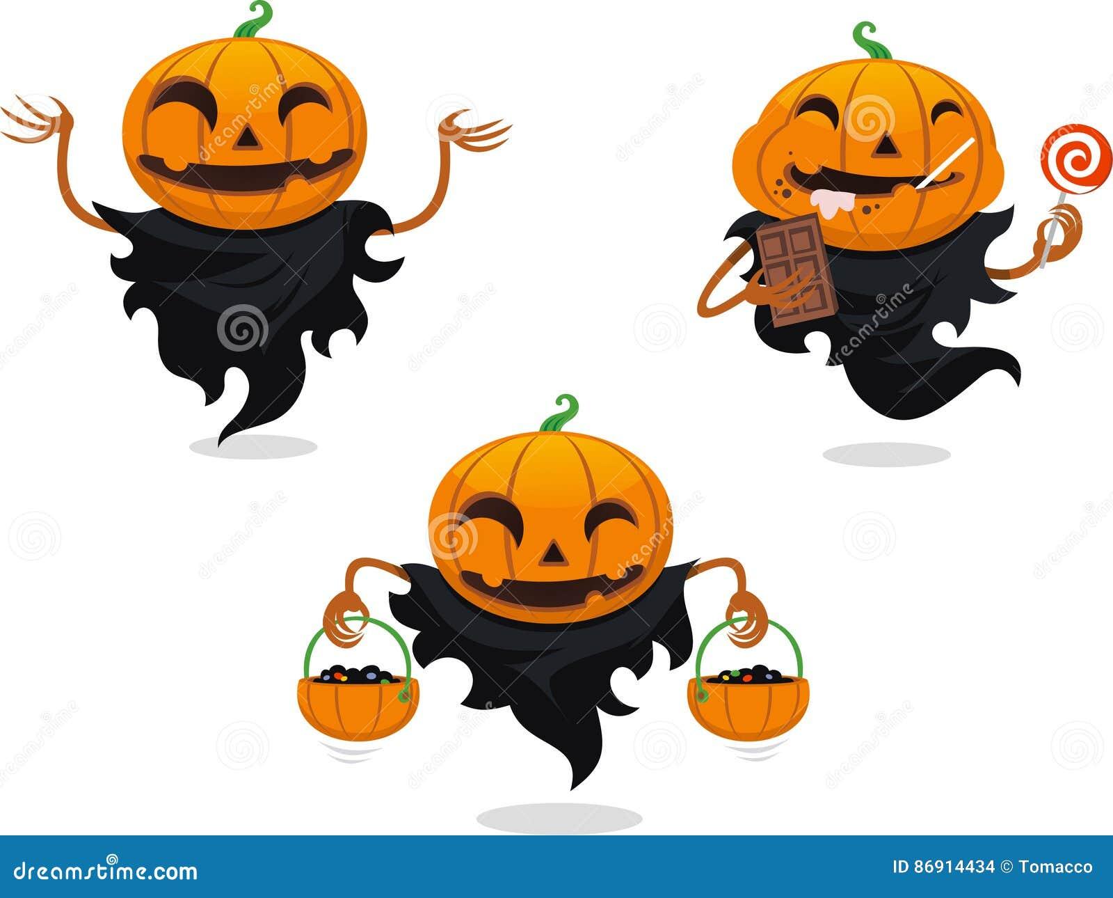 Jack O Lantern Halloween Cartoon Set Stock Illustration