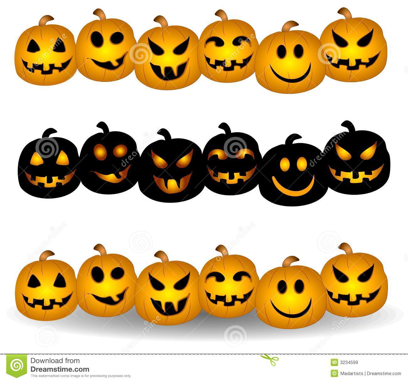clip art collection of jack-o-lantern pumpkin borders or dividers ...