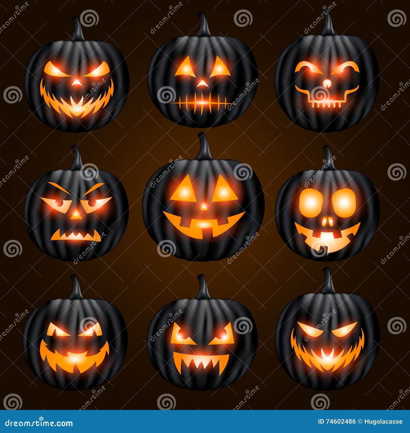 jack o lantern pumpkin faces glowing on black background stock rh dreamstime com halloween pumpkin face templates funny pu