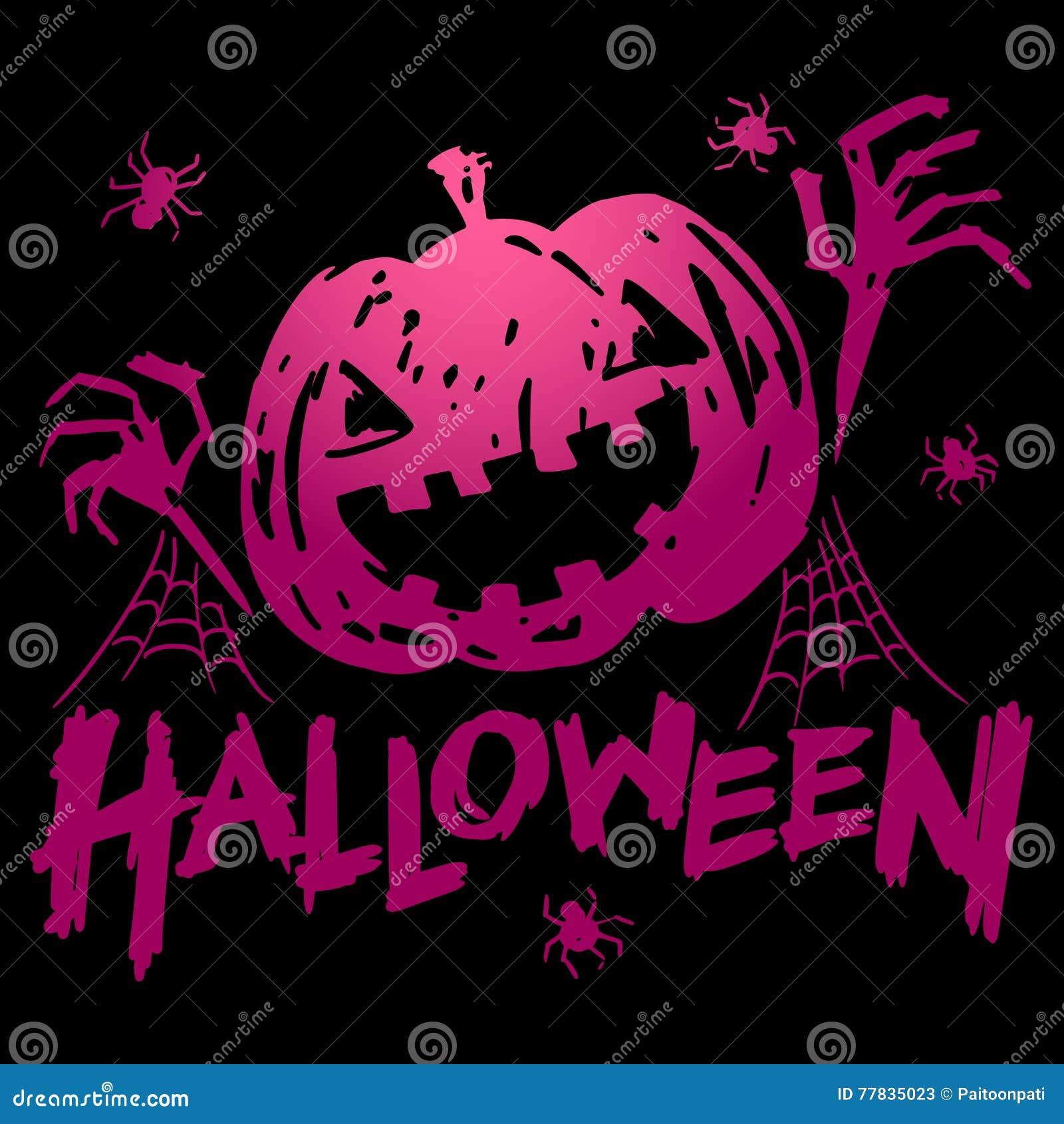 Jack-o-lantern Pumpkin Head With Spider, Cobweb Stock Vector ...