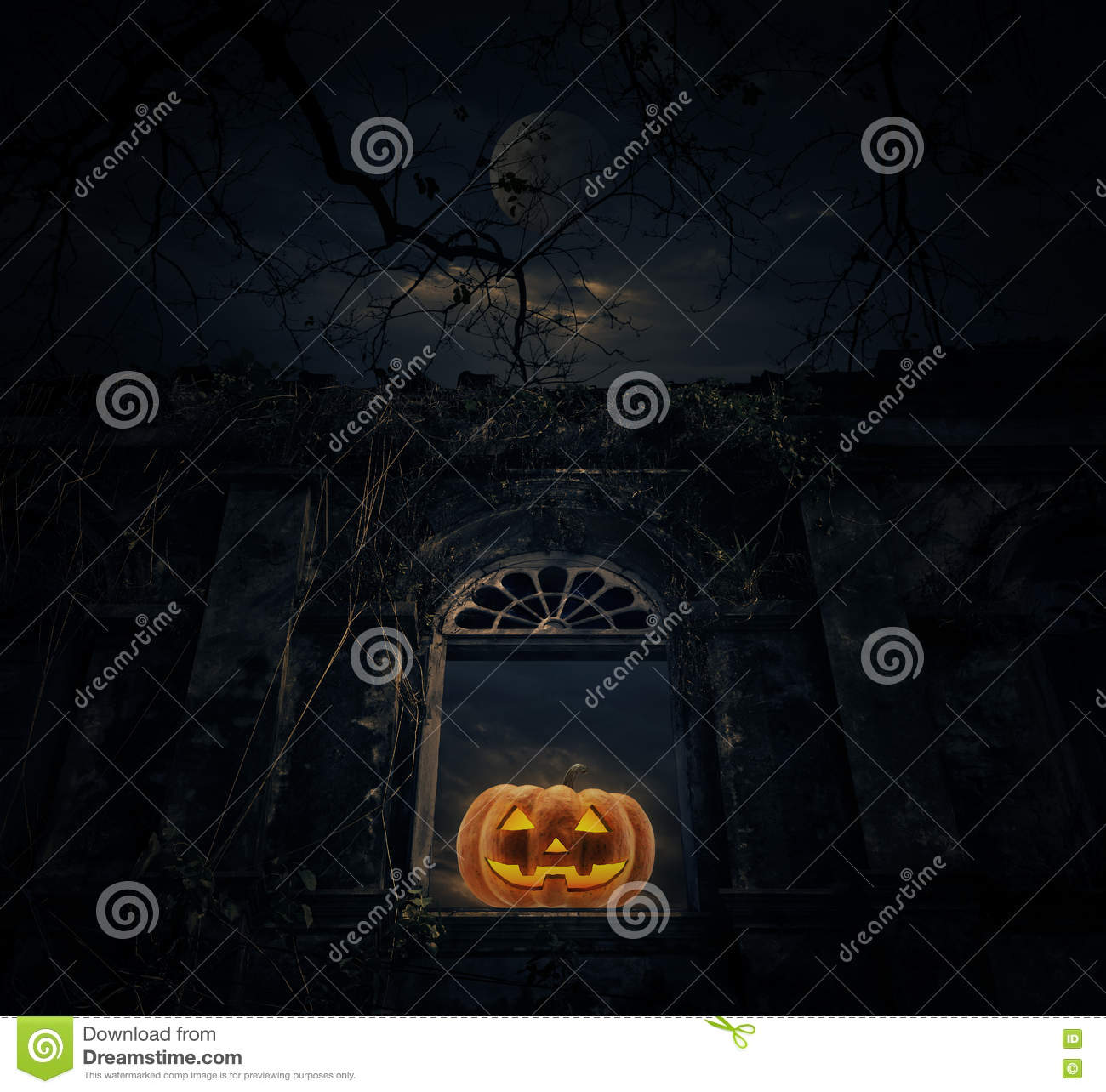 Jack O Lantern pumpkin with old ancient window castle over dead