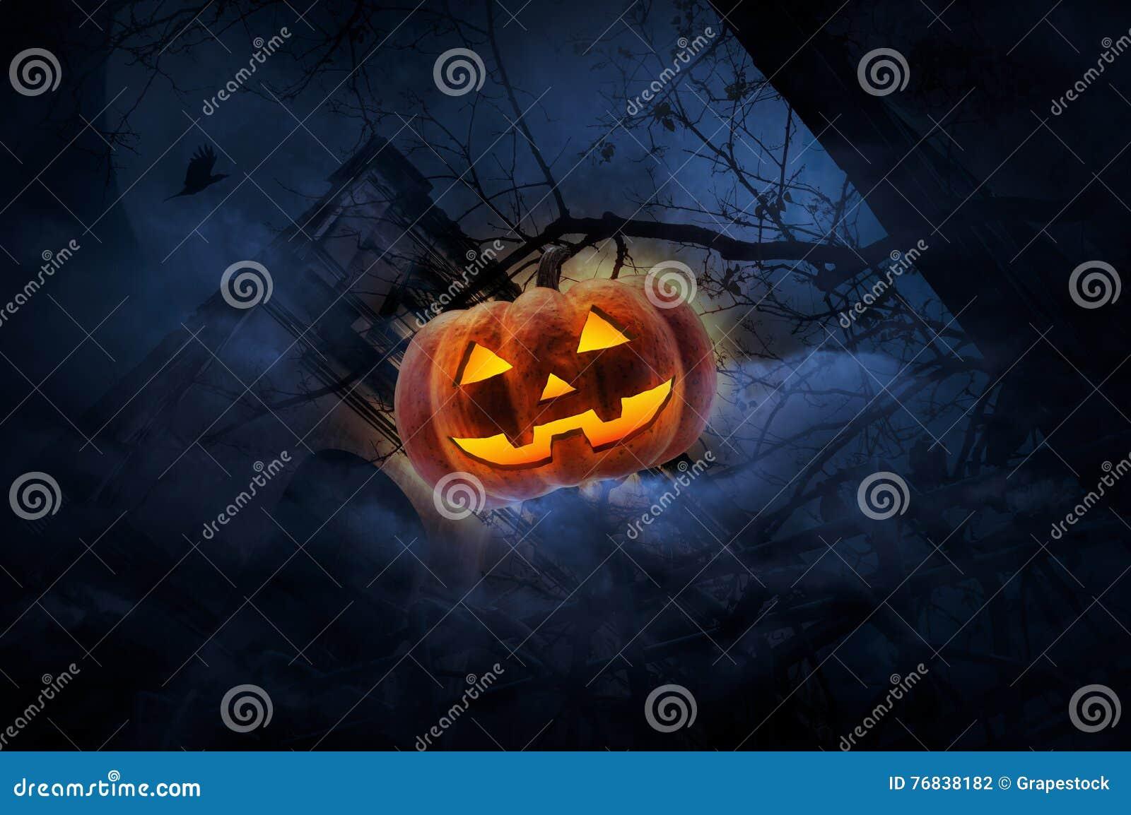 Jack O Lantern pumpkin over old fence, grunge castle, dead tree, bird fly, moon and cloudy sky, Spooky background, Halloween