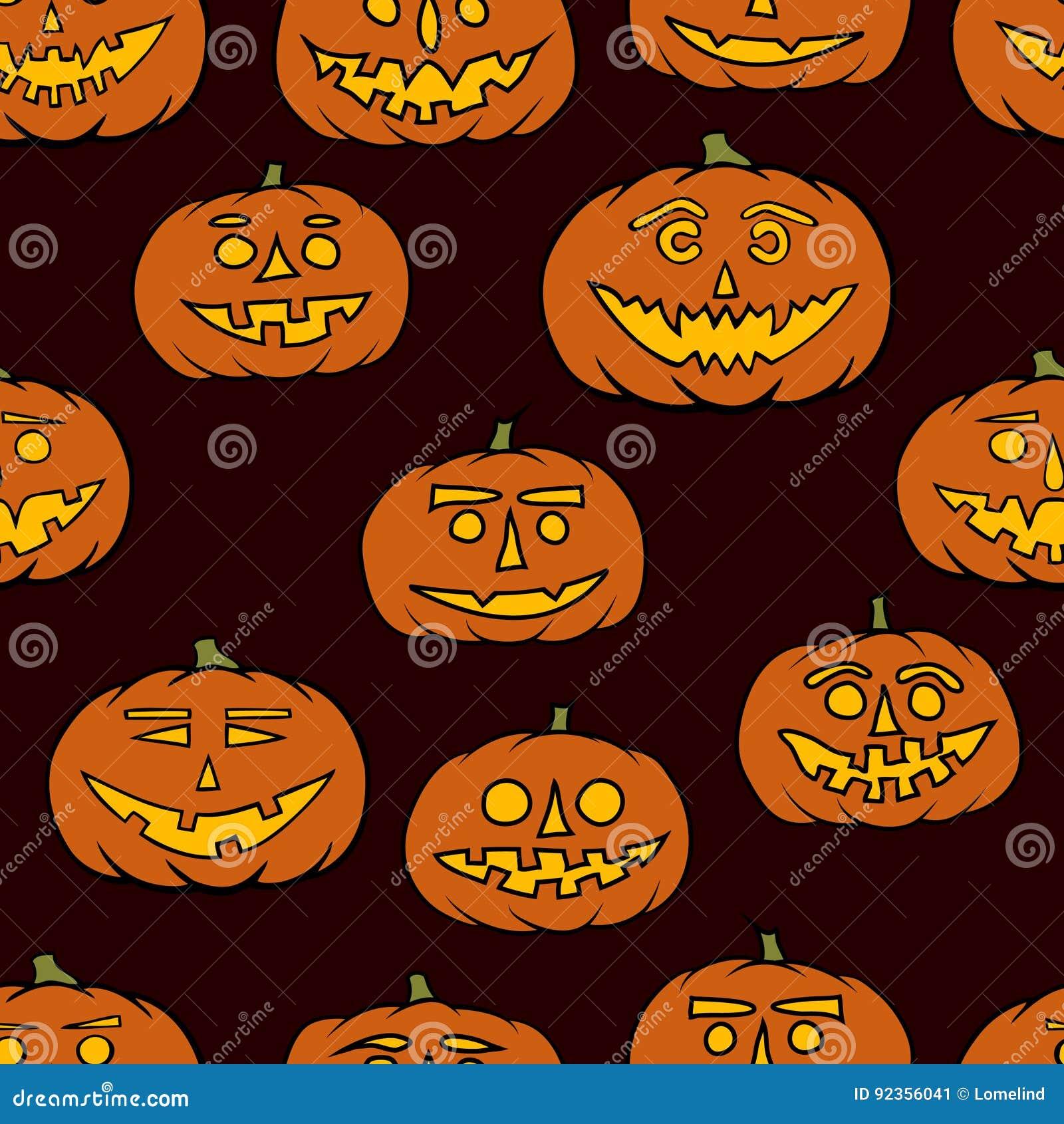 Jack o lantern seamless pattern halloween background