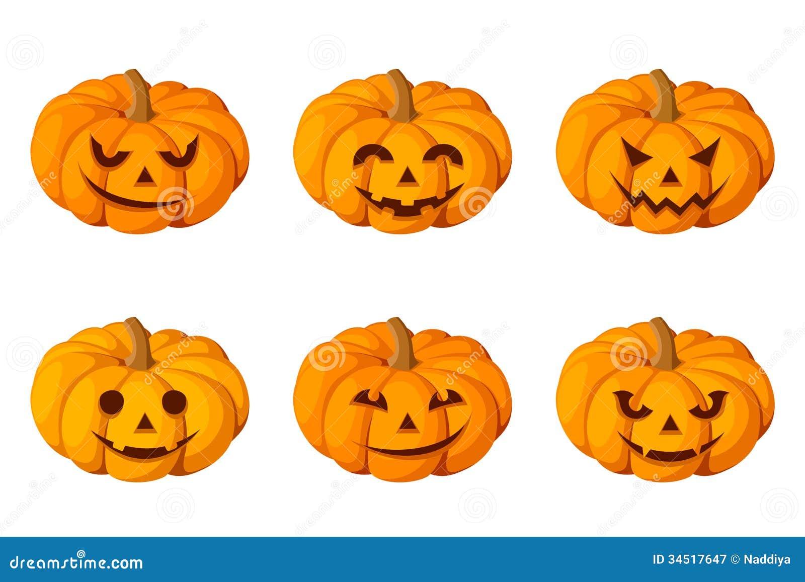 Jack-O-Lantern. Set Of Six Halloween Pumpkins. Royalty ...