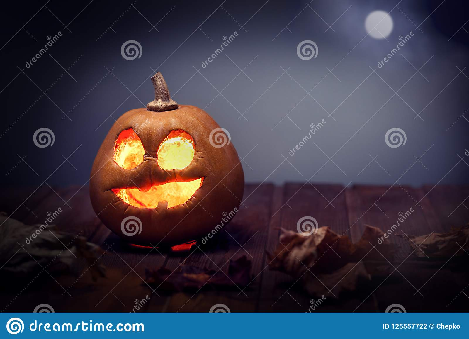 Download Jack O Lanterns Halloween Pumpkin Face On Wooden Background Stock Photo - Image of carved, fall: 125557722