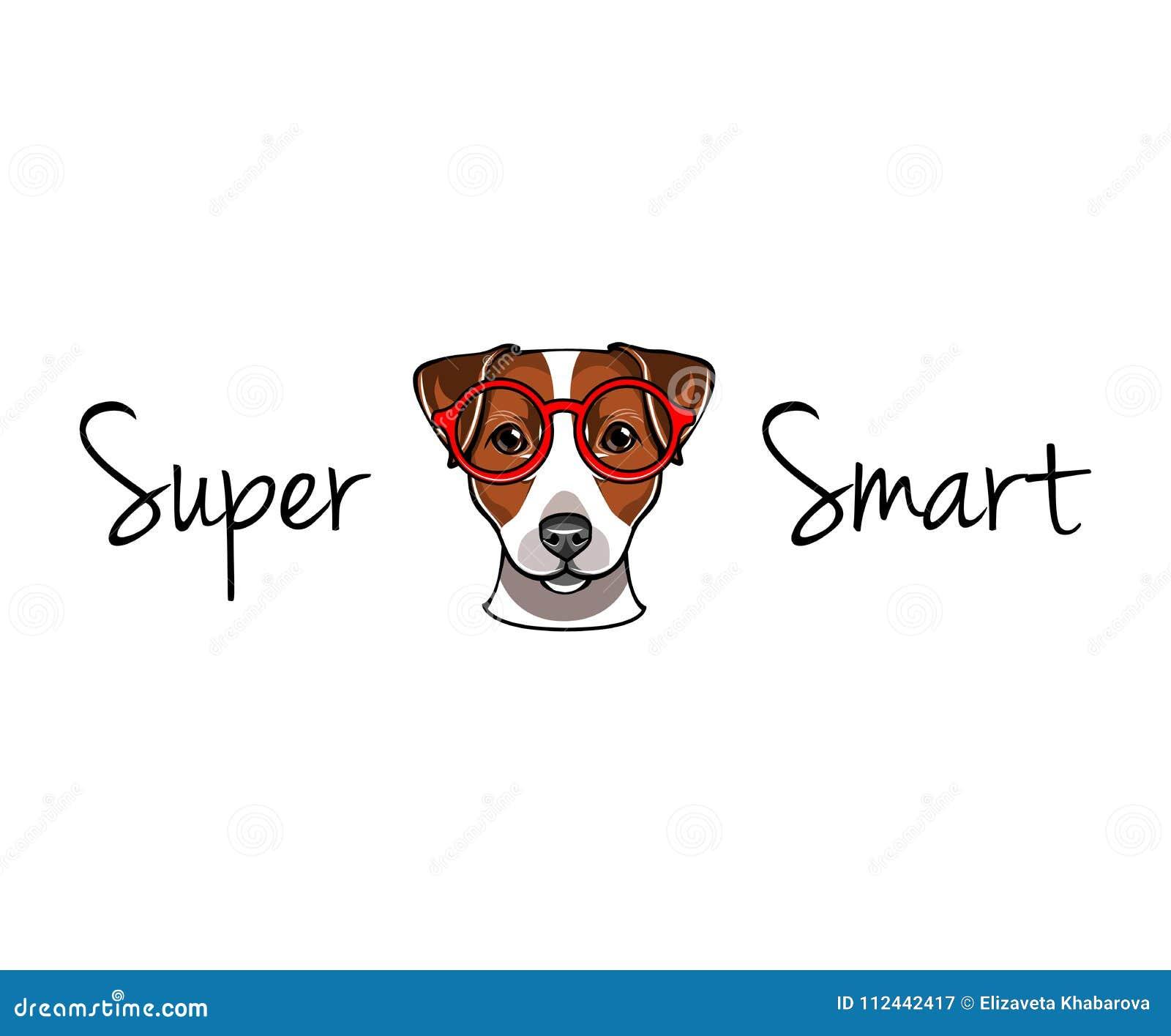 Jack Russell Terrier in smart glasses. Dog geek. Vector illustration.