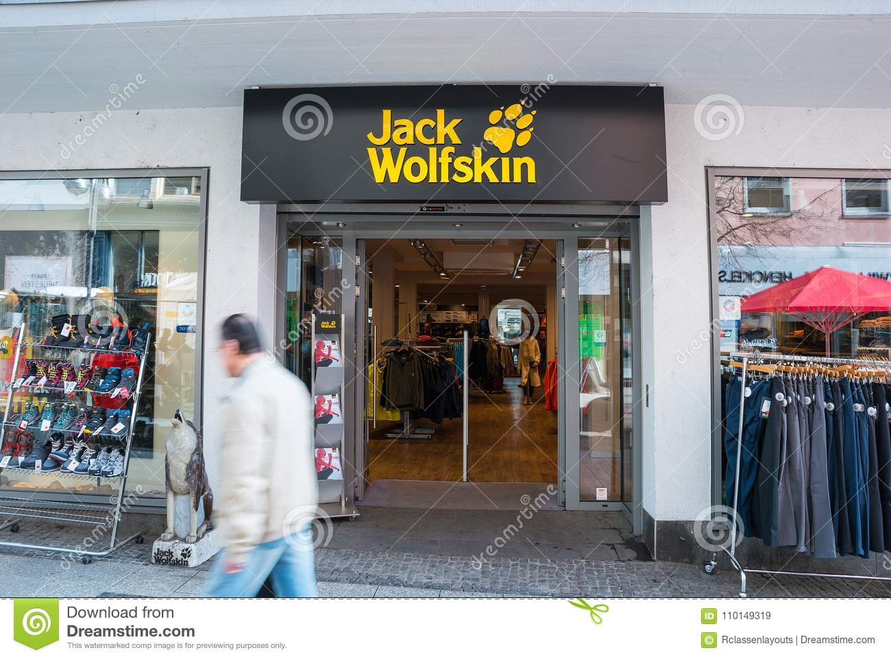 official site uk availability website for discount Jack Wolfskin store editorial stock image. Image of flag ...