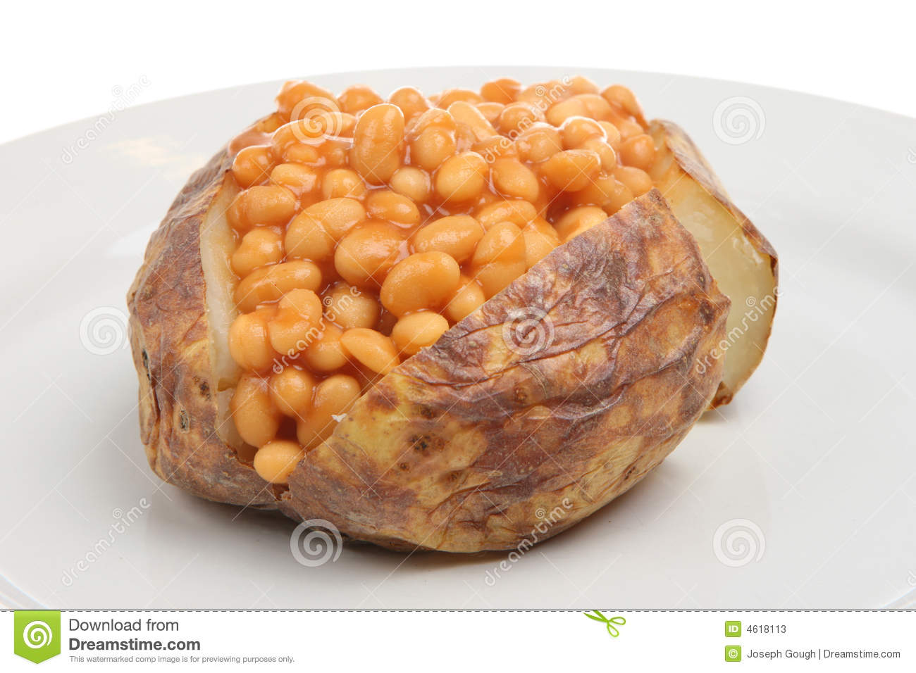 Jacket Potato With Baked Beans Stock Image Image Of Dinner