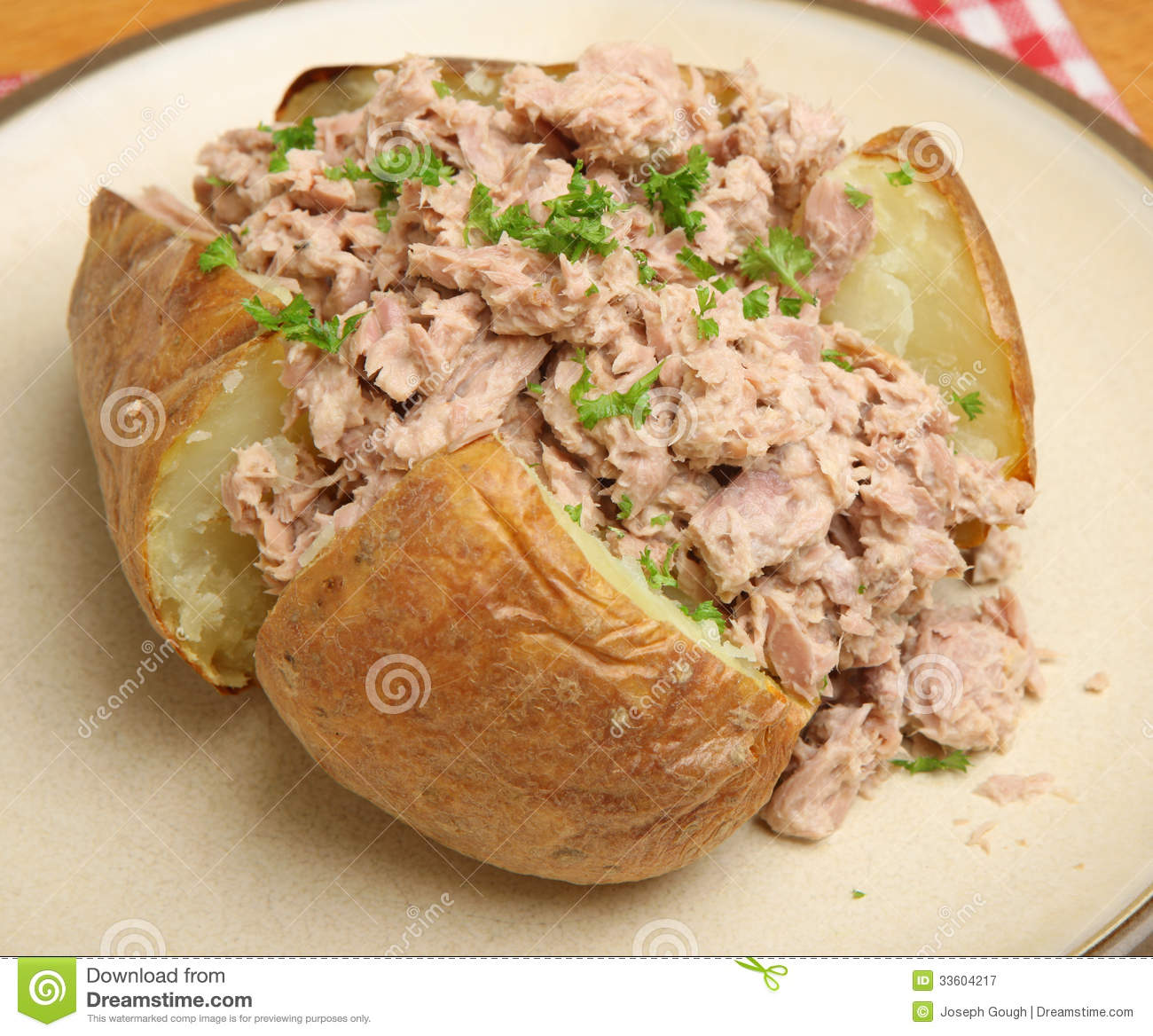 Jacket potato with tuna mayonnaise royalty free stock for Jacket potato fillings mushroom