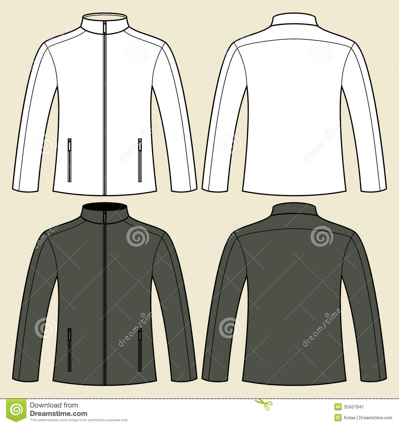Jacket Template - Front And Back Stock Image - Image: 35457941