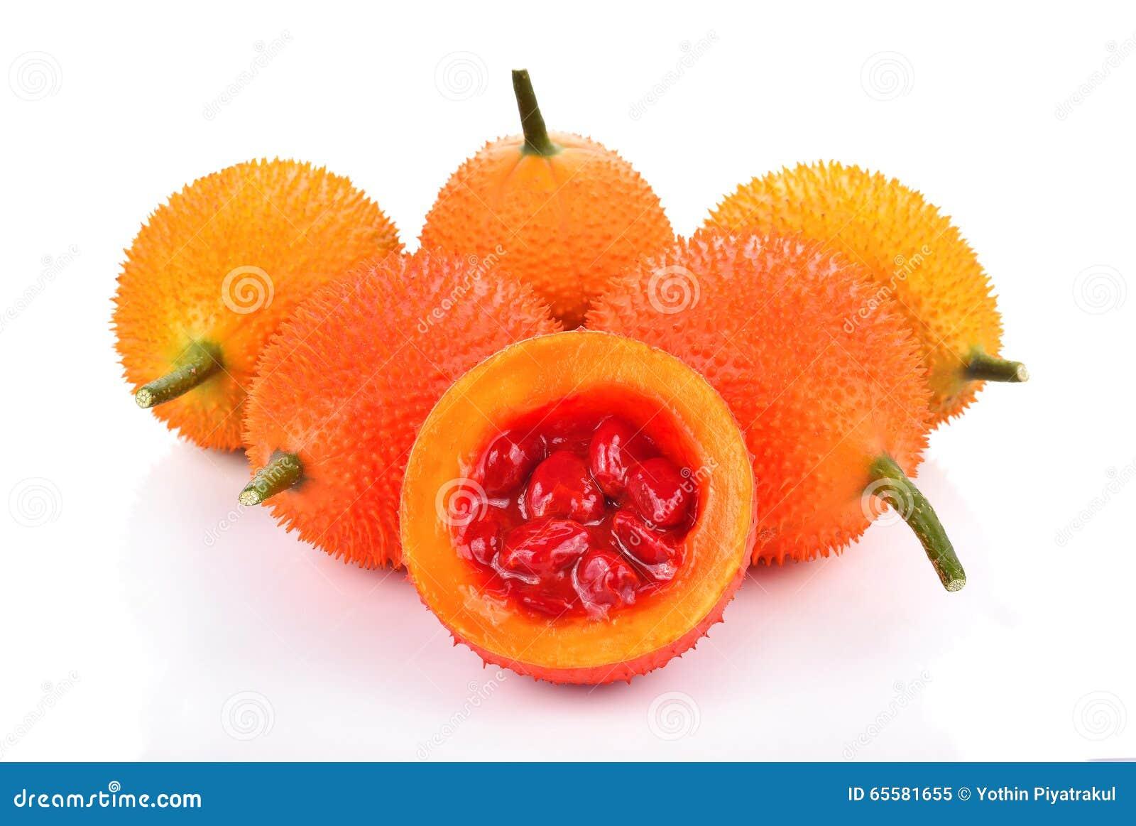 Jackfruit do bebê, cabaça amarga espinhoso, Grourd doce no fundo branco