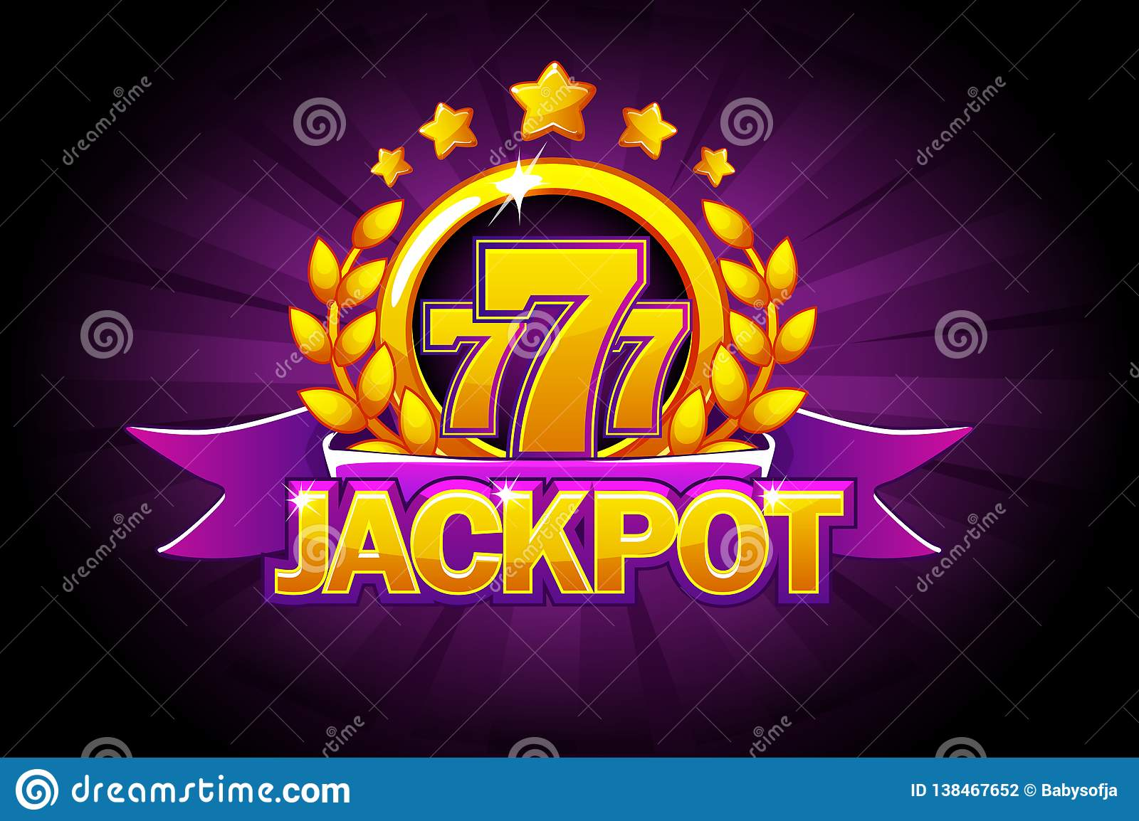 Jackpot banner with purple ribbon, 777 icons and text. Vector illustration for casino, slots, roulette and game UI