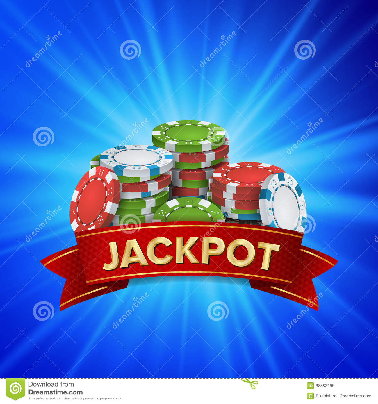 Jackpot Big Win Sign Vector Background. Design For Online Casino, Poker, Roulette, Slot Machines, Playing Cards, Mobile