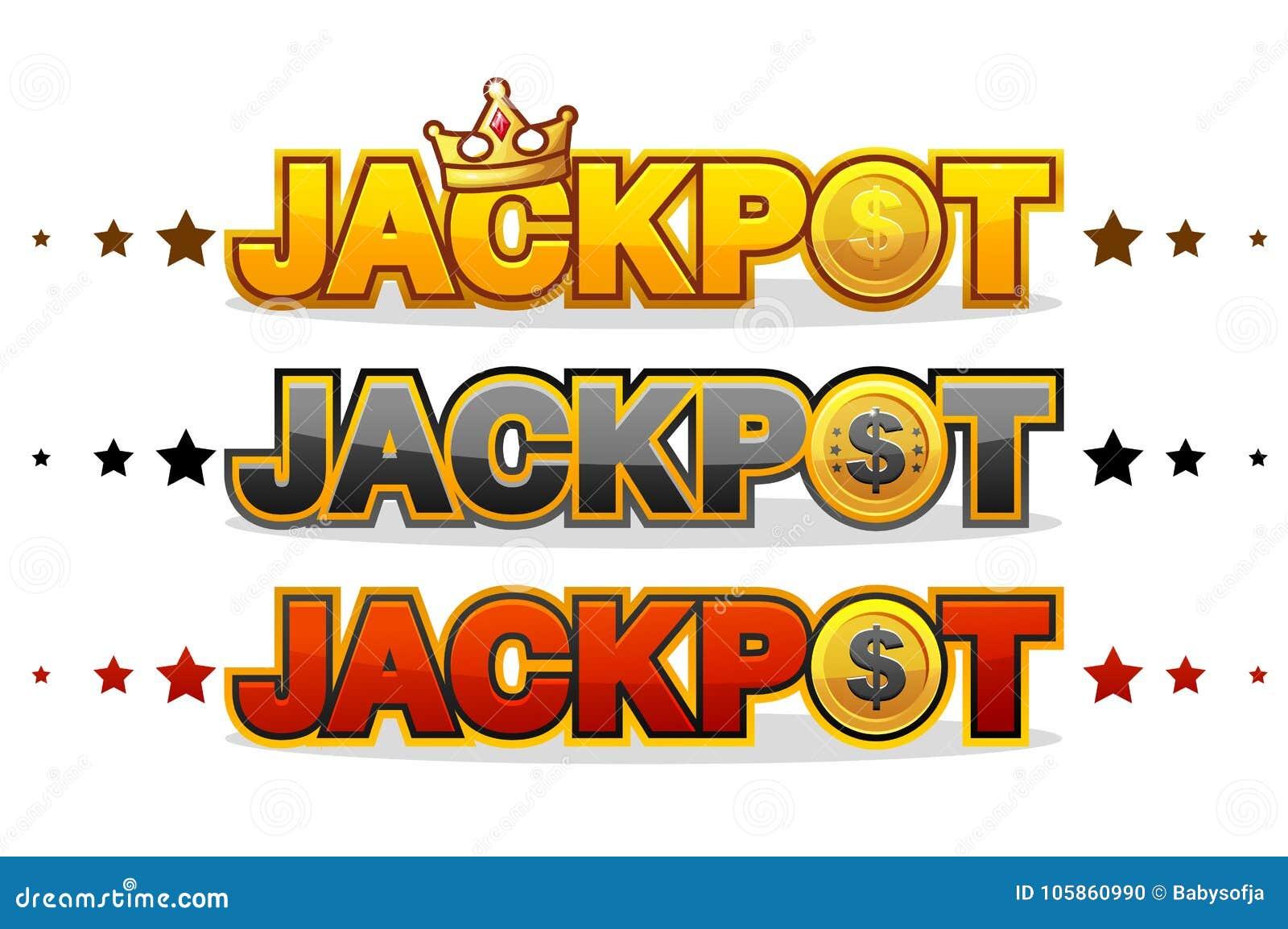 JACKPOT gewinnt das glänzende Symbol des Geldglücksspielsieger-Textes, das auf Weiß lokalisiert wird