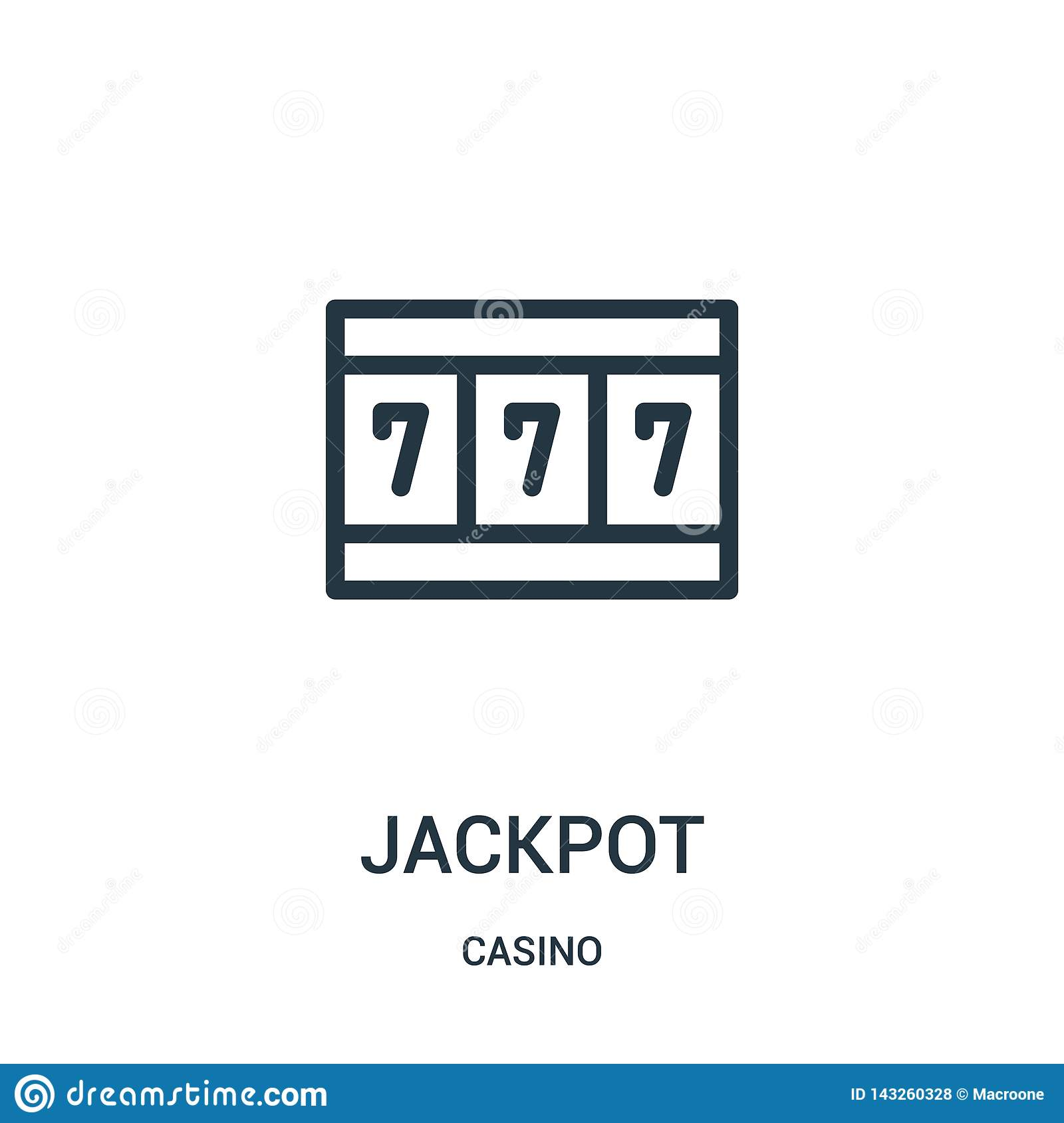 jackpot icon vector from casino collection. Thin line jackpot outline icon vector illustration