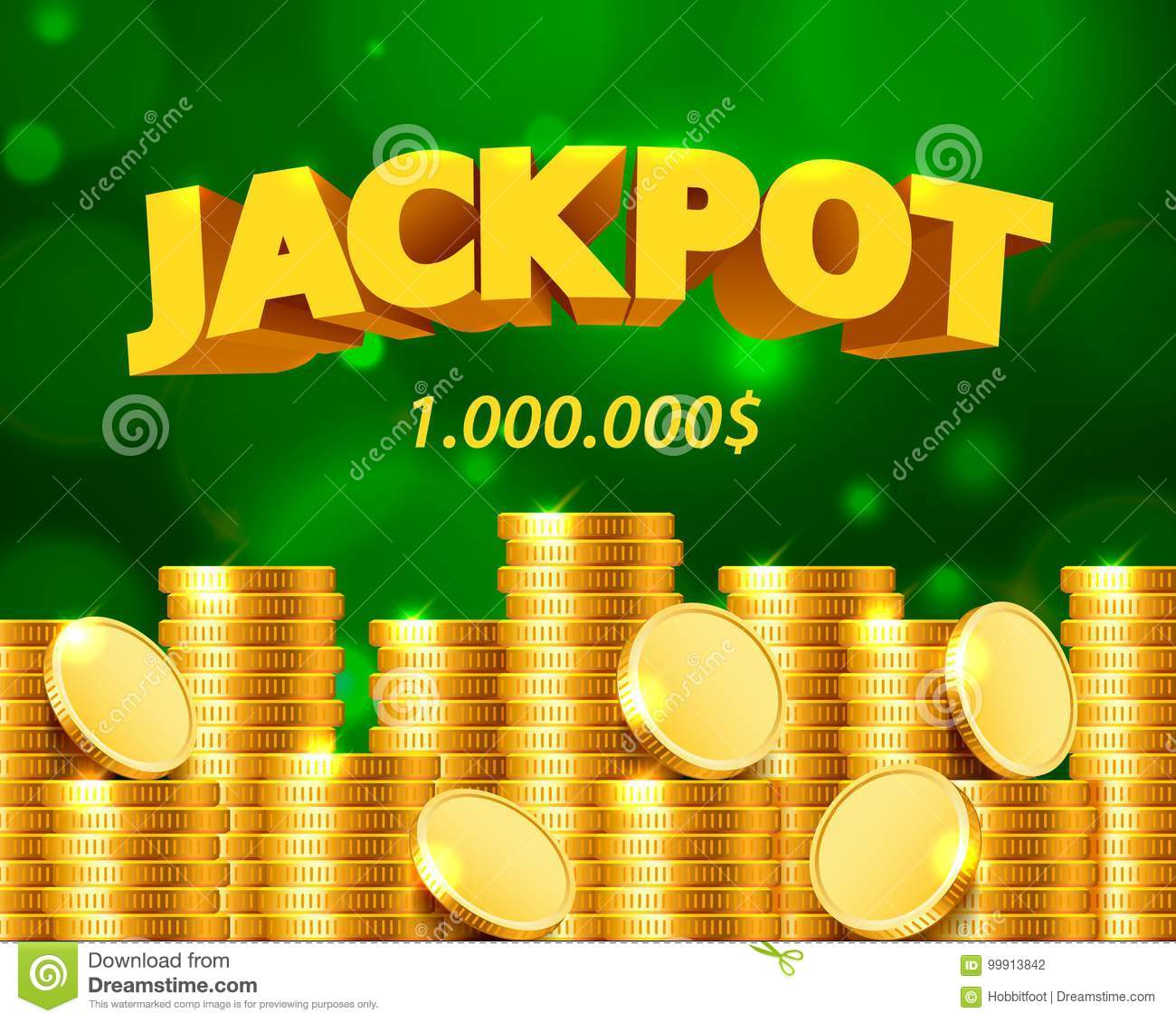 Jackpot million dollars in the form of gold coins.