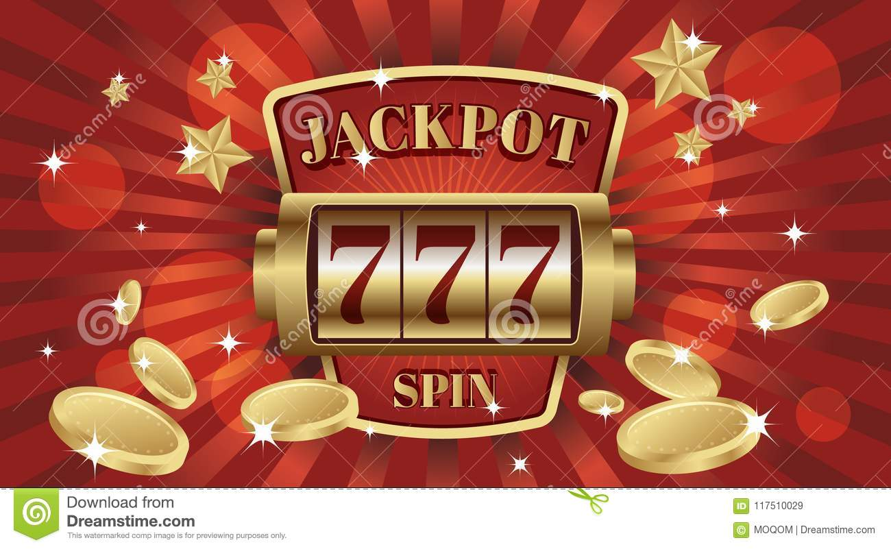 777 jackpot win screen slot mashine. Red and gold background color.