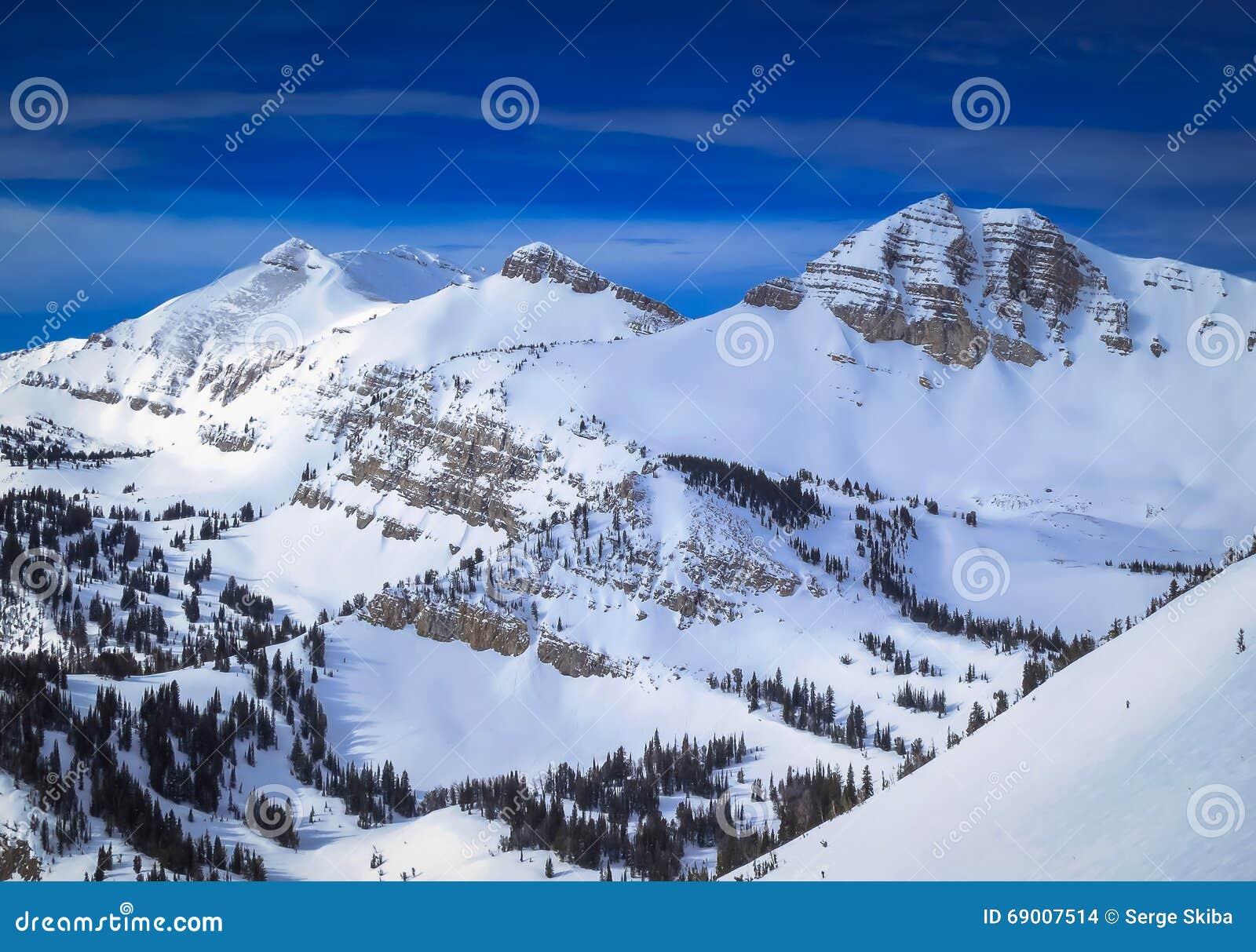 jackson hole, wyoming winter stock photo - image of background