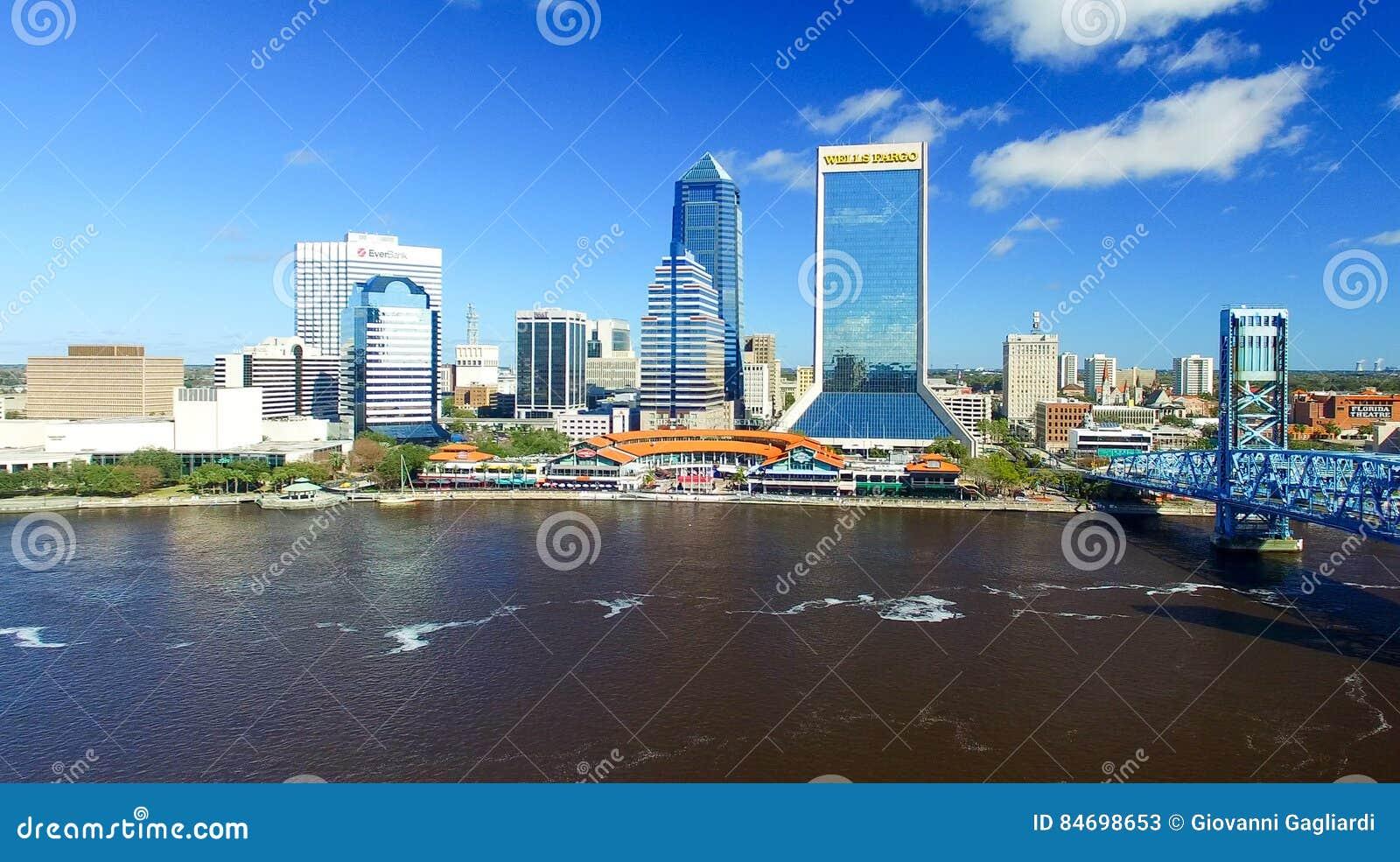 JACKSONVILLE, FL - FEBRUARY 2016: Aerial city view. Jacksonville