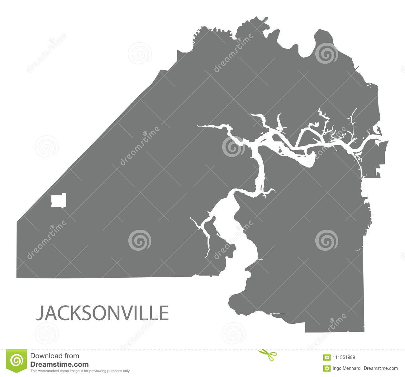 Florida City Map.Jacksonville Florida City Map Grey Illustration Silhouette Shape