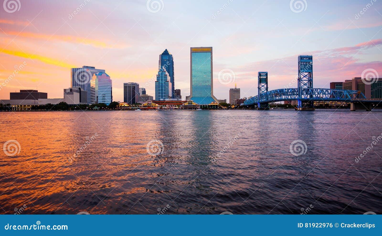 Jacksonville, Florida City Skyline at Sunset logos blurred