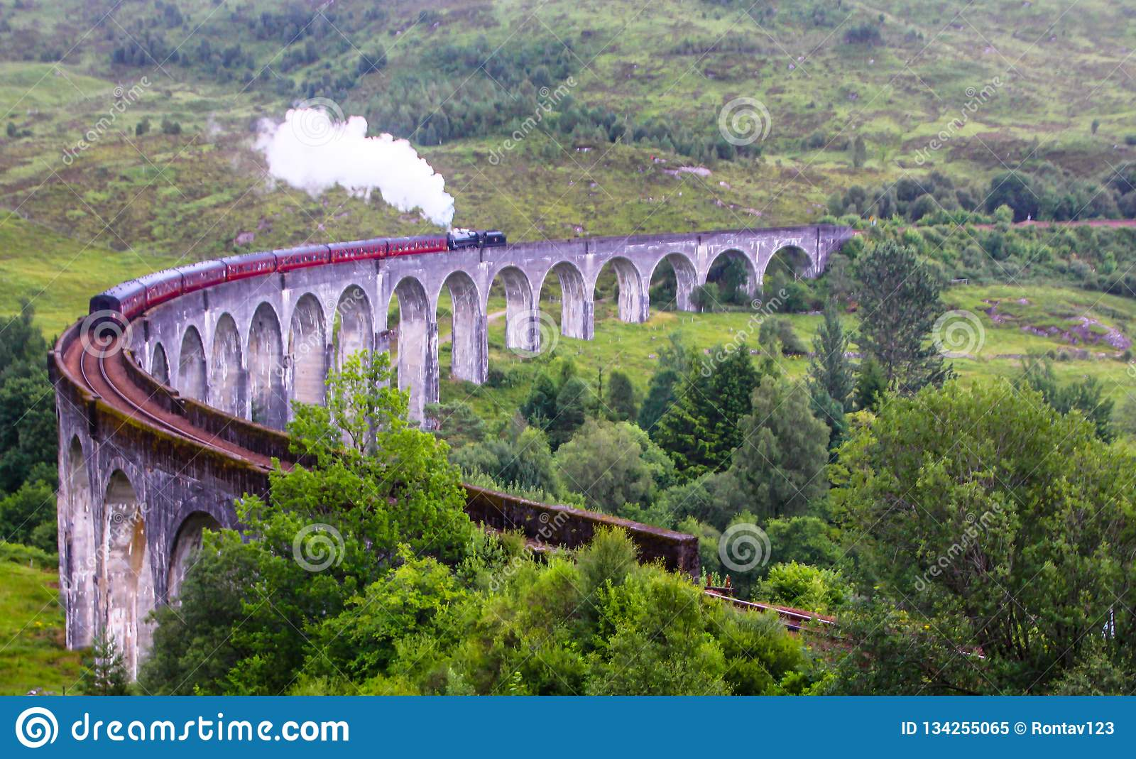 The Jacobite steam train, aka `Hogwarts Express in Harry Potter movies` passes Glenfinnan viaduct, Scotland, UK