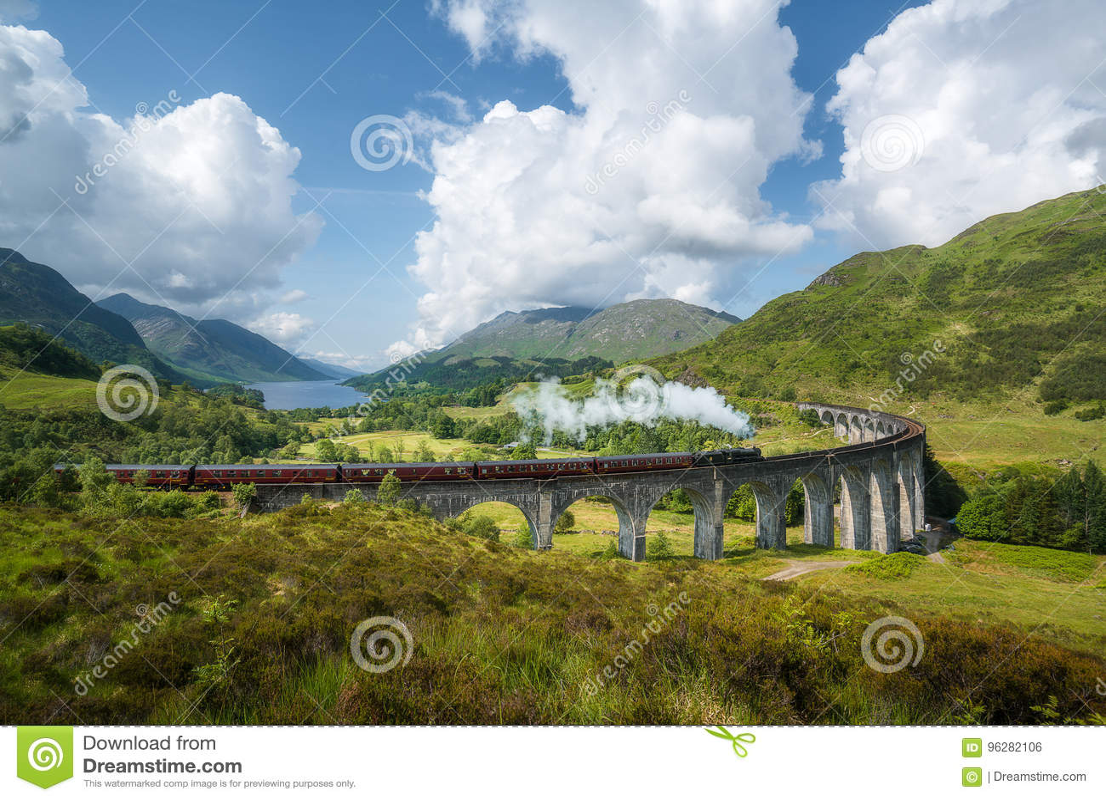 Jacobite steam train, a.k.a. Hogwarts Express, passes Glenfinnan viaduct