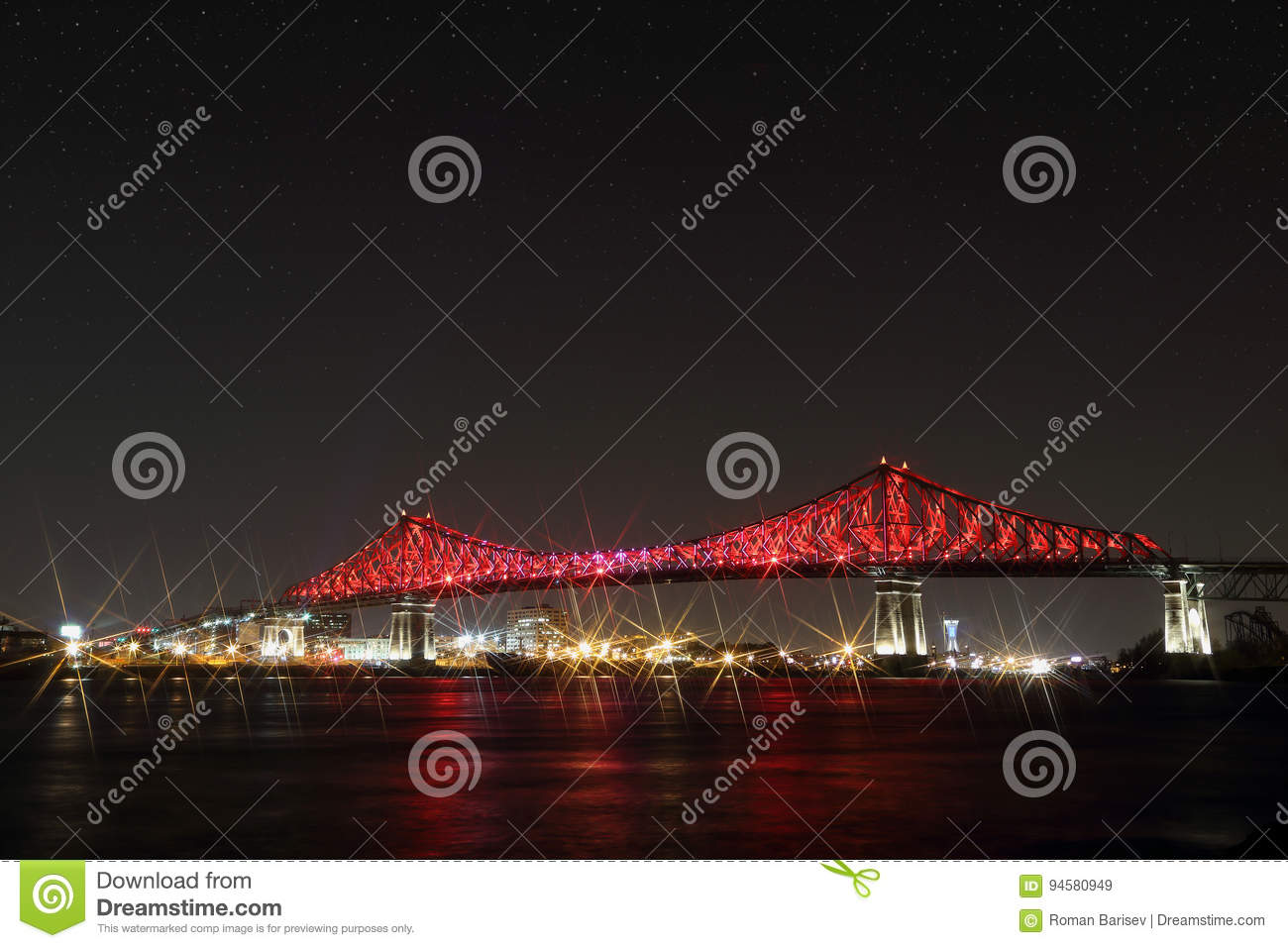 Jacques Cartier Bridge Illumination in Montreal. Montreal's 375th anniversary. luminous colorful interactive