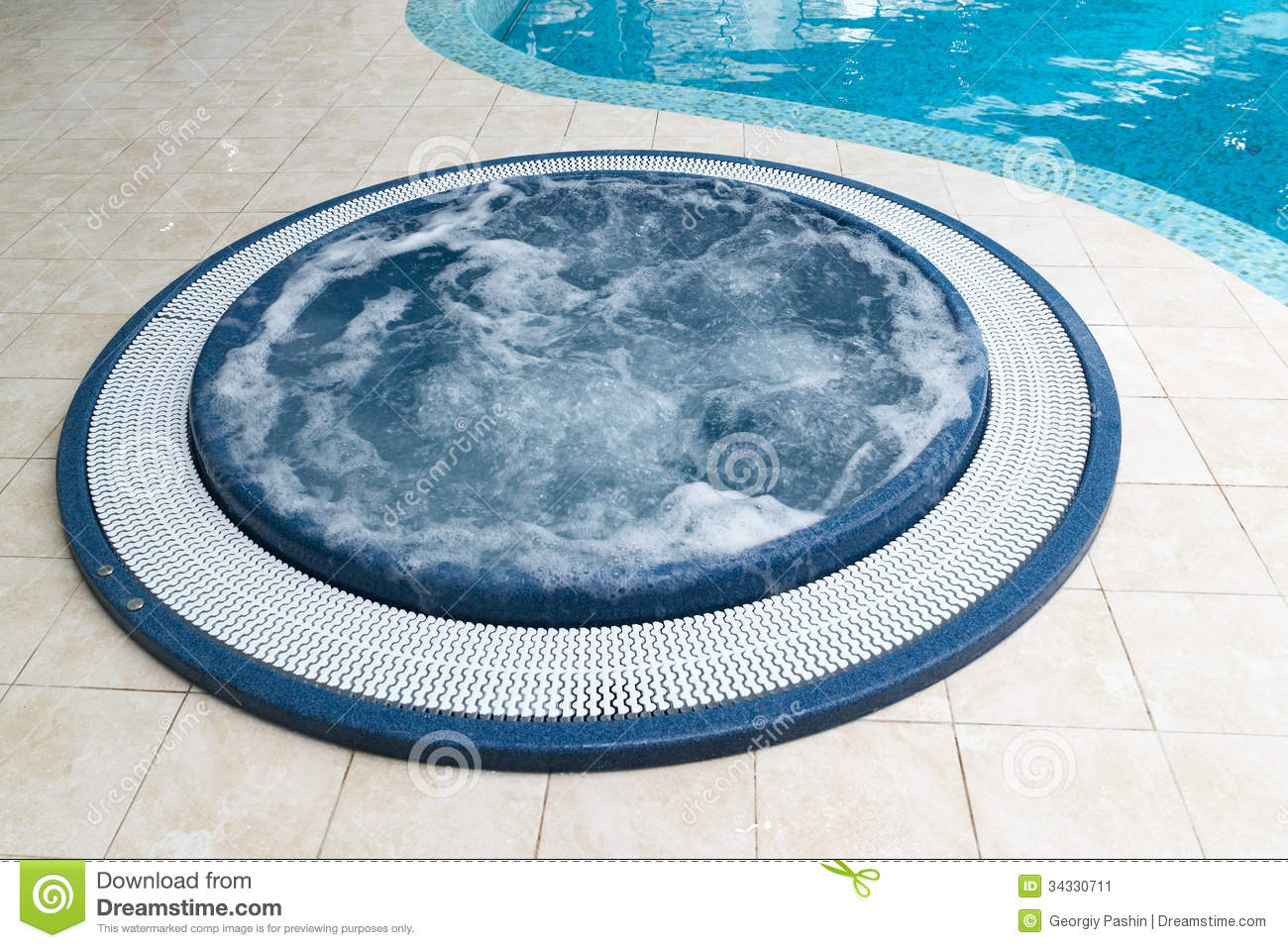 Jacuzzi Bathtub Near Swimming Pool Stock Image Image